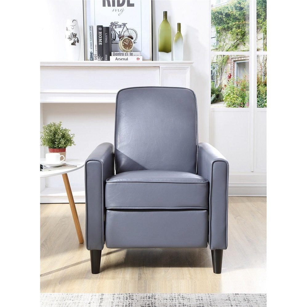 Shop Carson Carrington Knaben Grey Faux Leather Push Back Recliner Throughout Katrina Grey Swivel Glider Chairs (Image 13 of 20)