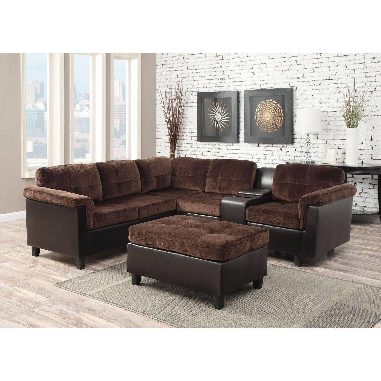 Shop Cleavon Reversible Sectional Sofa In Chocolate Champion – Free With Regard To Mansfield Cocoa Leather Sofa Chairs (Image 18 of 20)