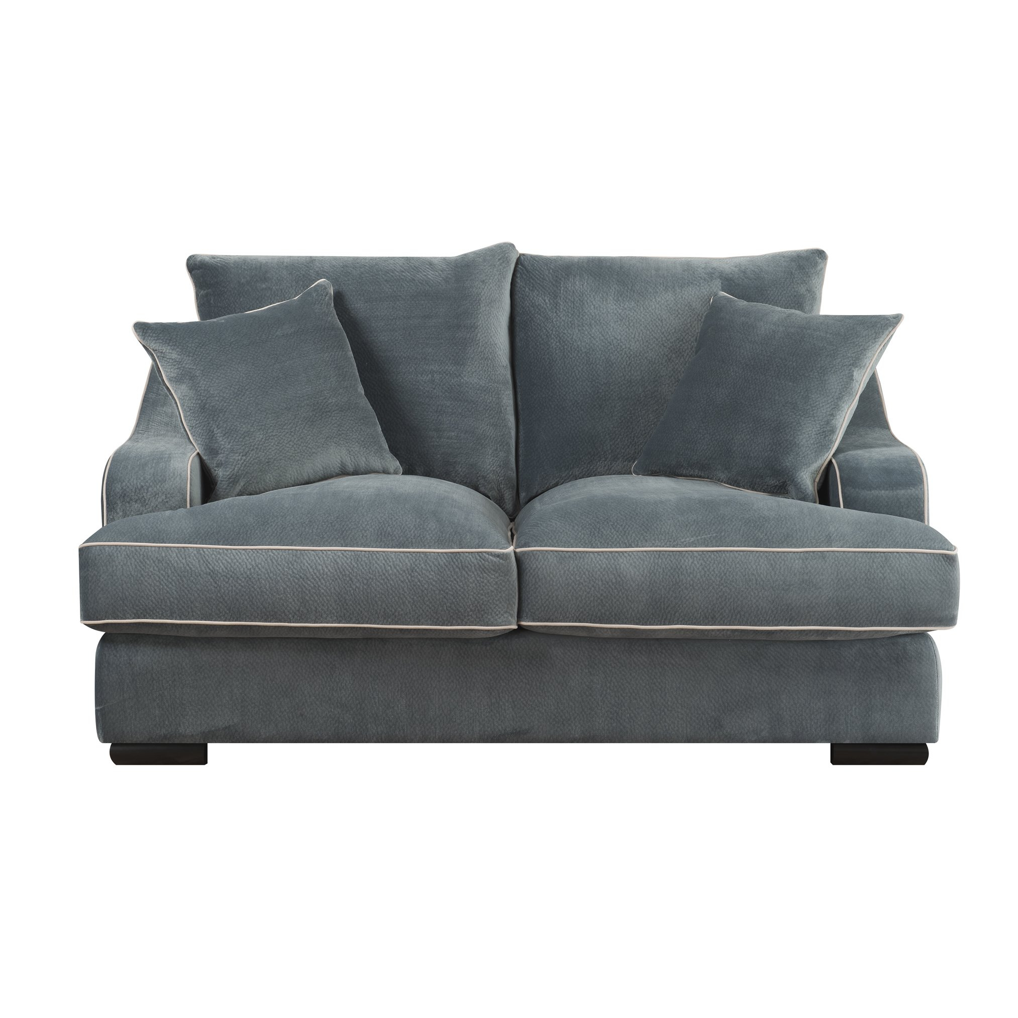 Shop Emerald Caresse Marine Blue Plush Oversized Loveseat – Free For Caressa Leather Dove Grey Sofa Chairs (Image 16 of 20)