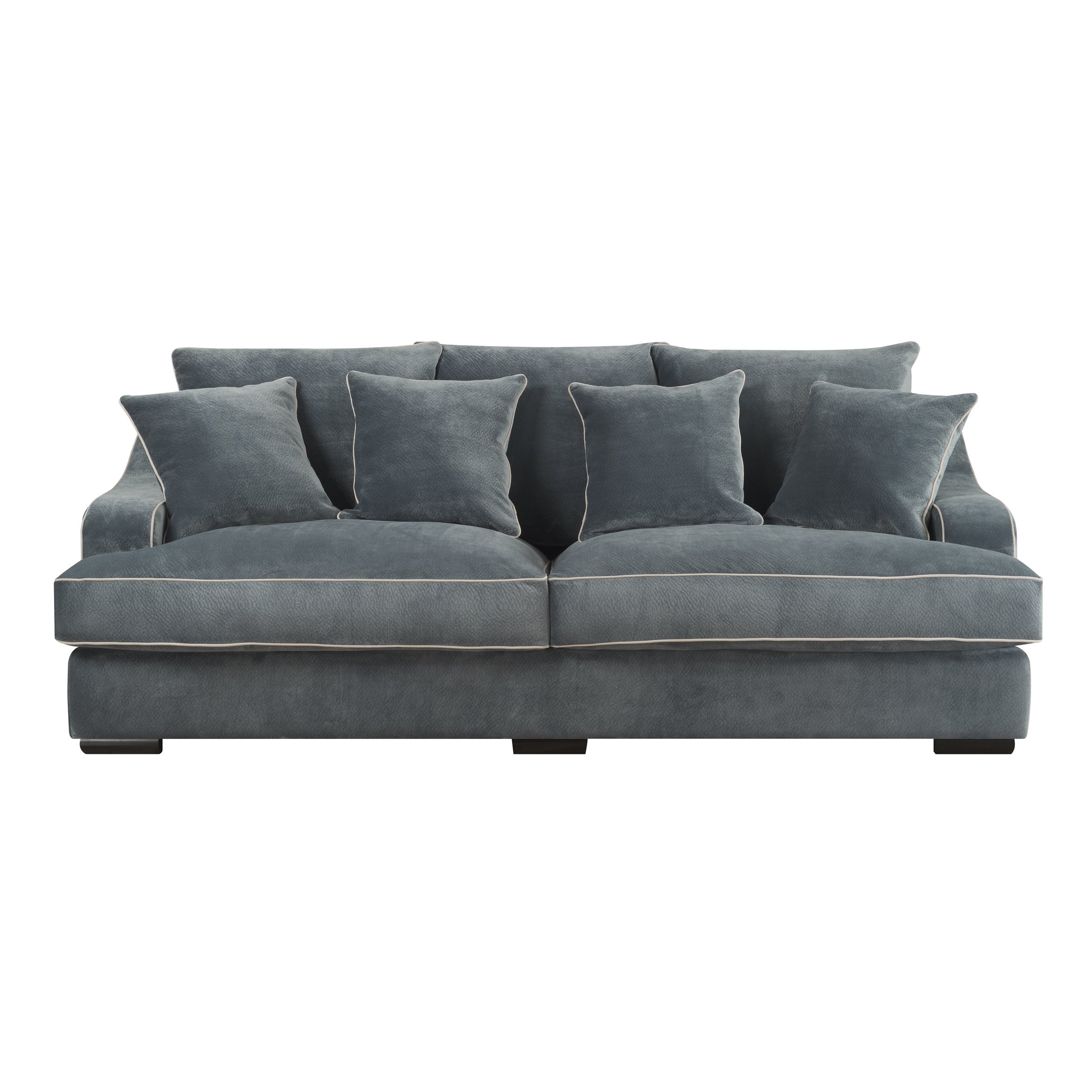 Shop Emerald Caresse Marine Blue Plush Oversized Sofa – Free For Caressa Leather Dove Grey Sofa Chairs (Image 17 of 20)