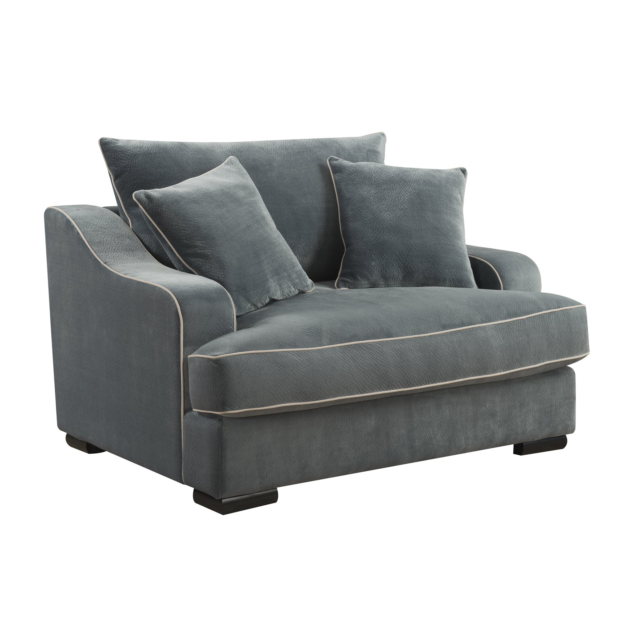 Shop Emerald Home Caresse Marine Blue Plush Oversized Chair – Free With Regard To Caressa Leather Dove Grey Sofa Chairs (Image 19 of 20)