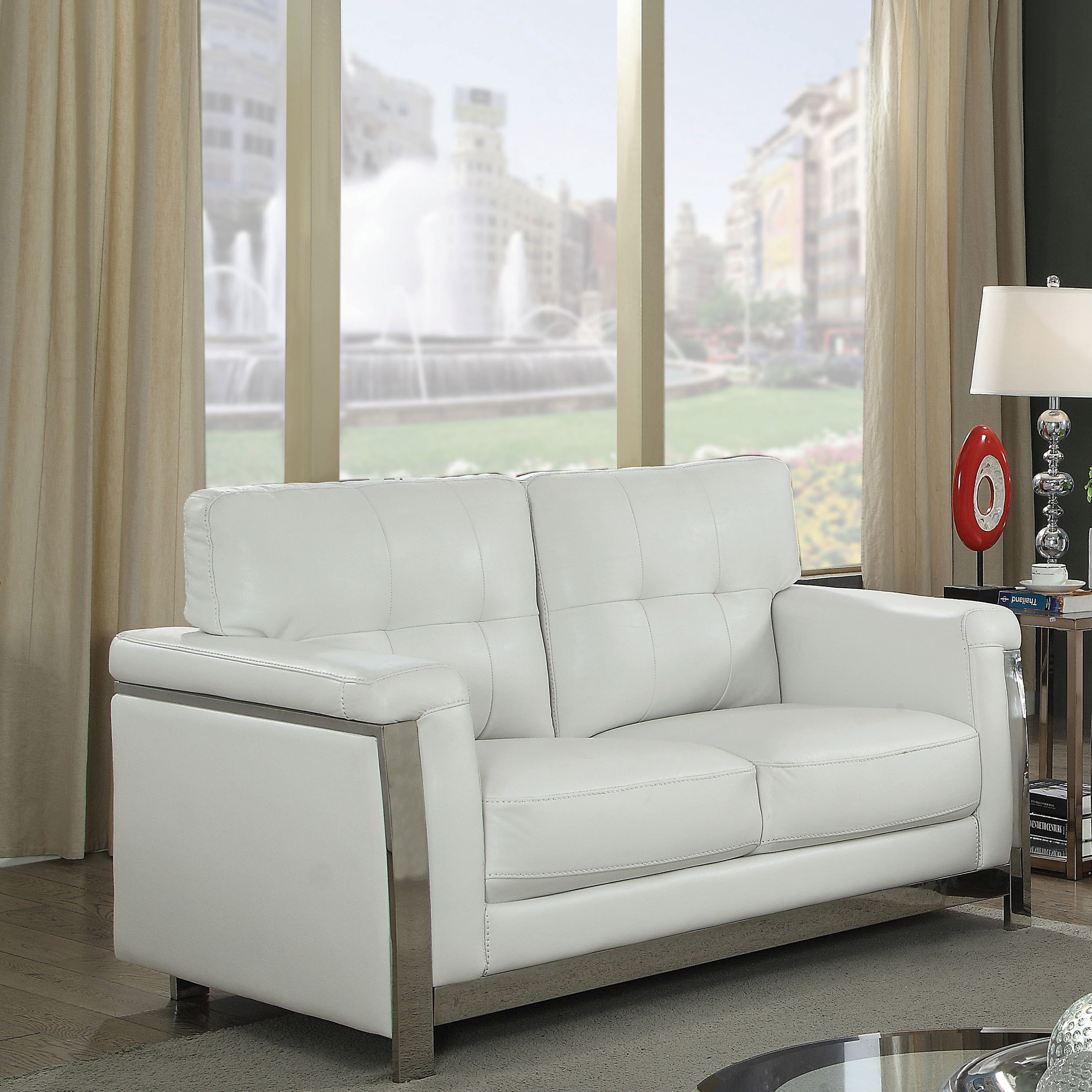 Shop Furniture Of America Rodeyo Modern Stainless Steel Loveseat Within Sheldon Oversized Sofa Chairs (Image 12 of 20)