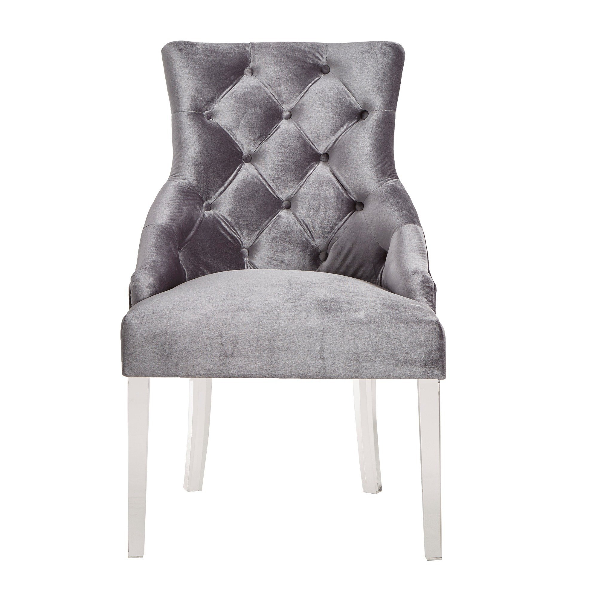 Shop Gina Velvet Tufted Dining Chair (Set Of 2) With Acrylic Legs For Gina Grey Leather Sofa Chairs (View 19 of 20)