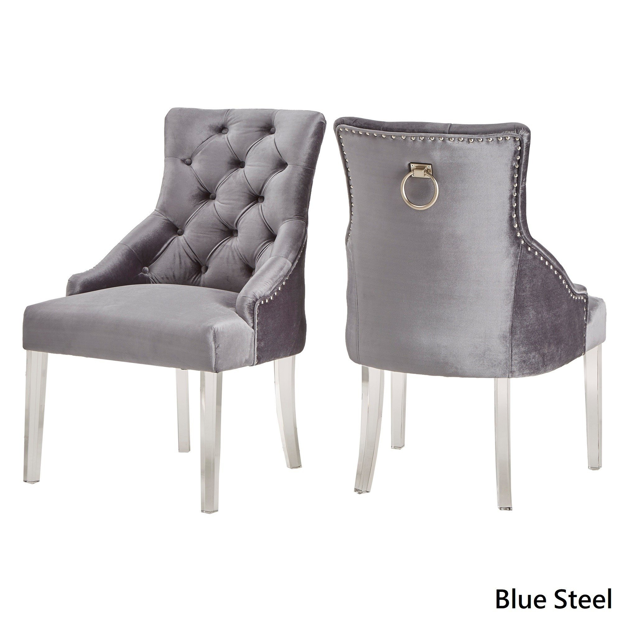 Shop Gina Velvet Tufted Dining Chair (Set Of 2) With Acrylic Legs Regarding Gina Blue Leather Sofa Chairs (Image 19 of 20)