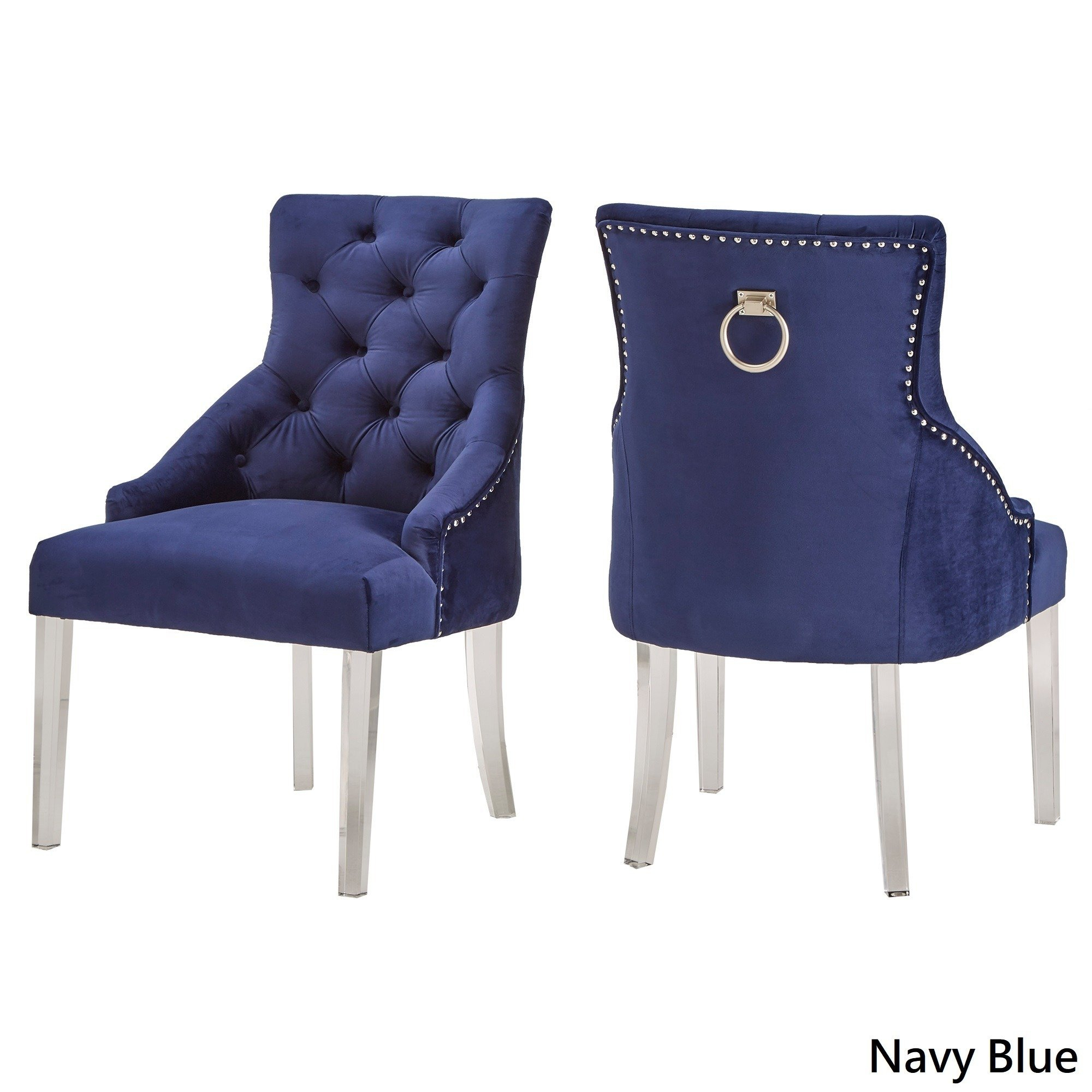 Shop Gina Velvet Tufted Dining Chair (Set Of 2) With Acrylic Legs With Regard To Gina Blue Leather Sofa Chairs (Image 20 of 20)
