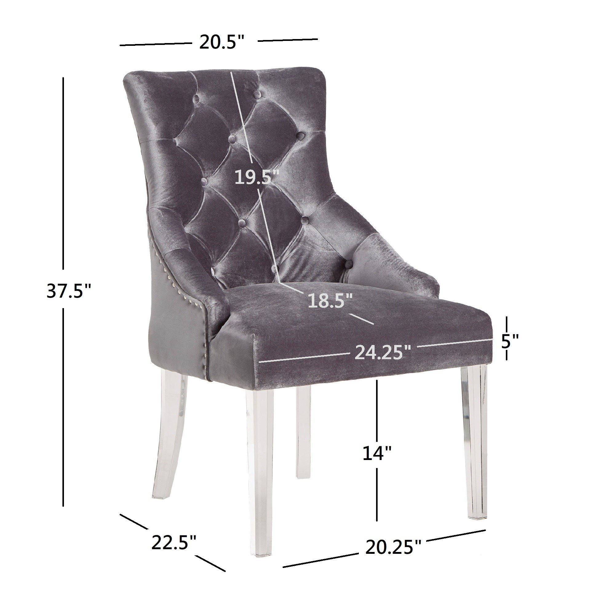 Shop Gina Velvet Tufted Dining Chair (Set Of 2) With Acrylic Legs With Regard To Gina Grey Leather Sofa Chairs (View 11 of 20)