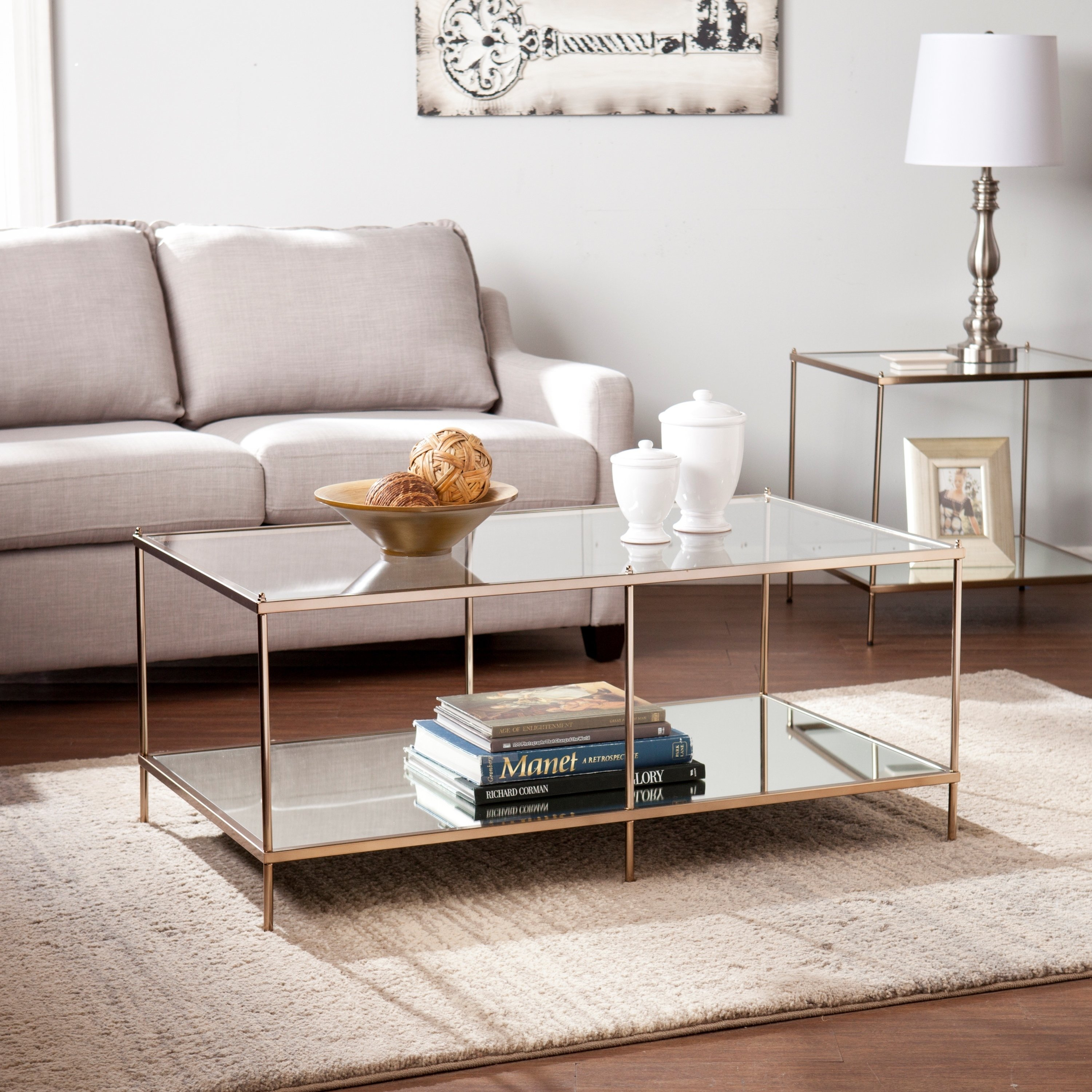 Shop Harper Blvd Kendall Goldtone Glass Top Coffee Table – Free In Harper Down Oversized Sofa Chairs (Image 19 of 20)
