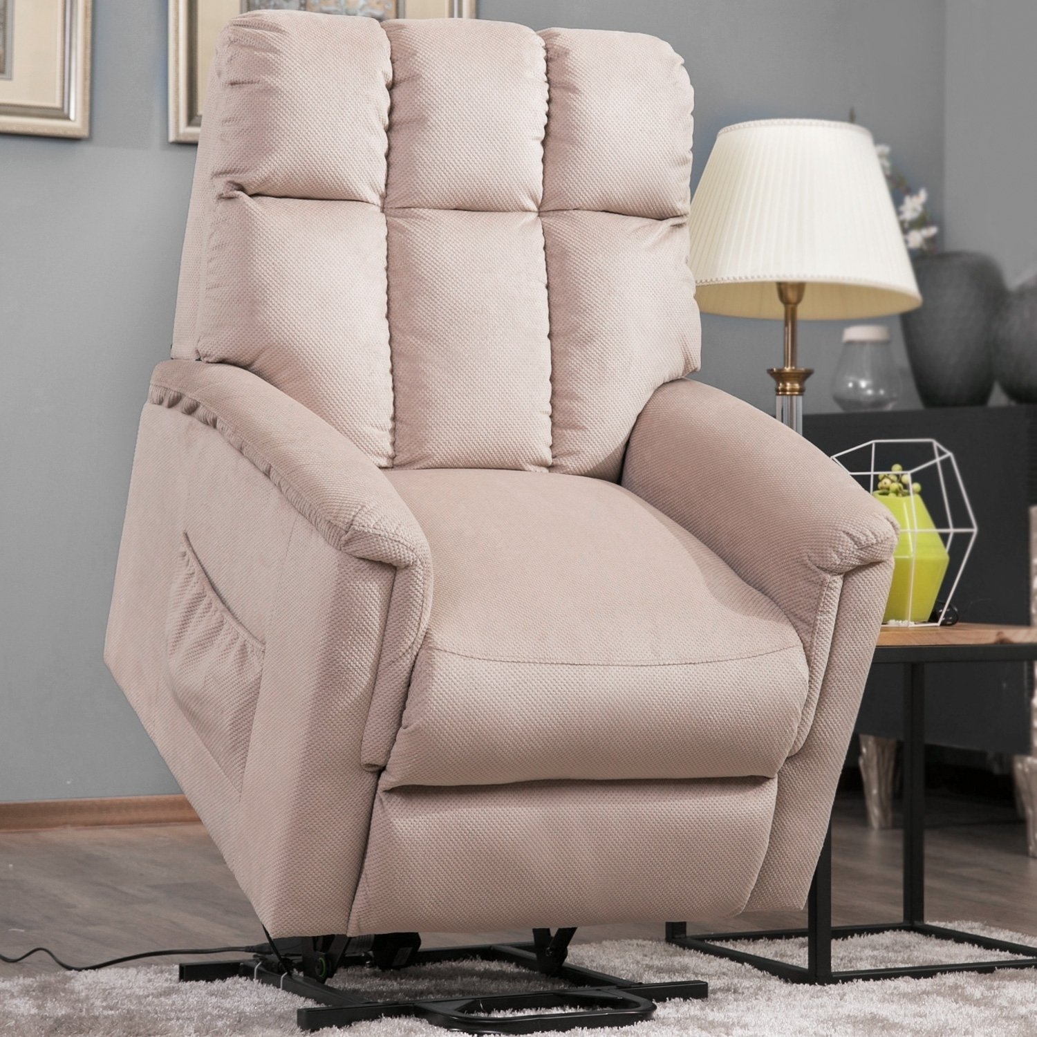Shop Harper & Bright Designs Power Lift Chair Soft Fabric Recliner Regarding Harper Down Oversized Sofa Chairs (Image 16 of 20)