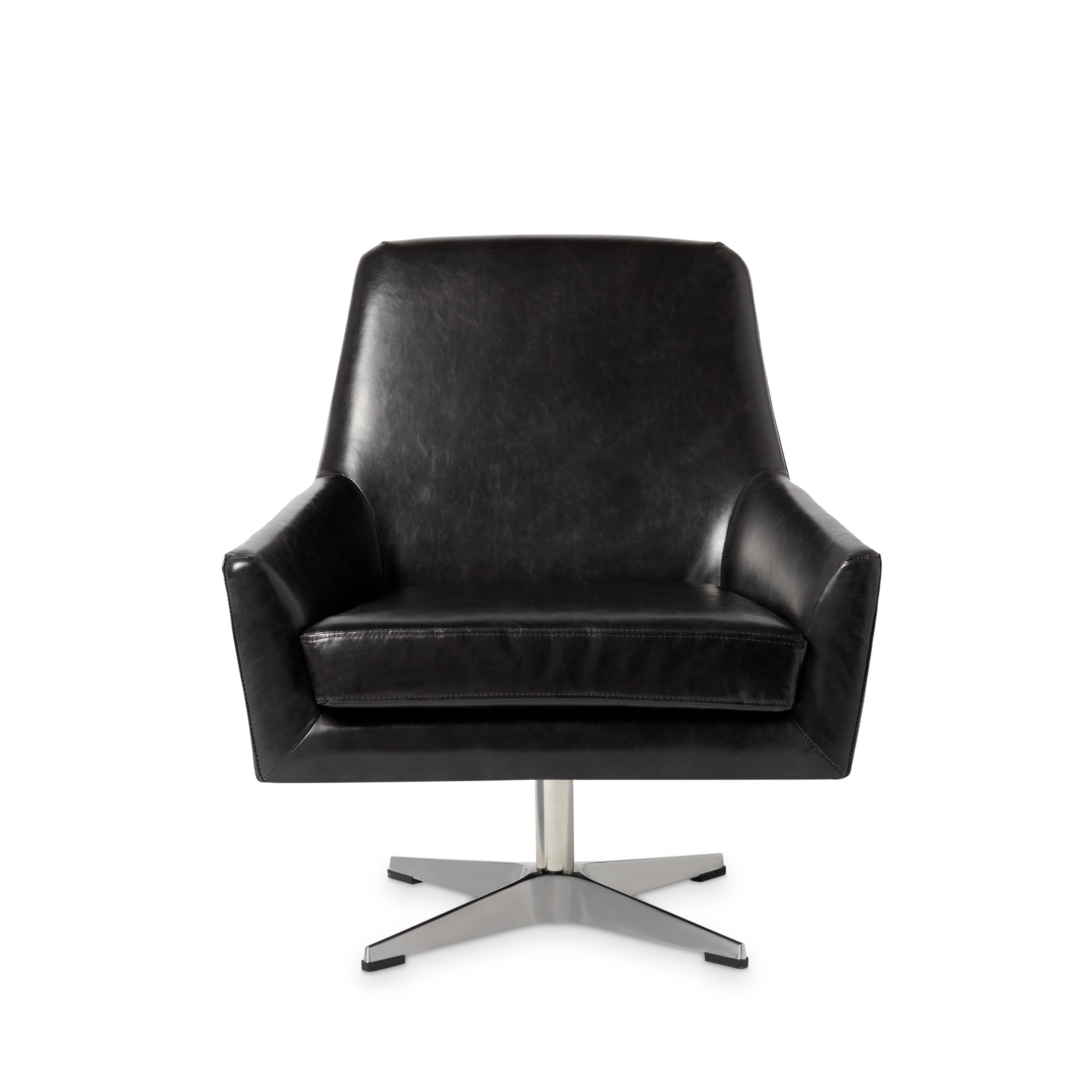 Shop Jasper Laine Lisbon Off Black Leather Swivel Chair – Free With Regard To Leather Black Swivel Chairs (Image 16 of 20)