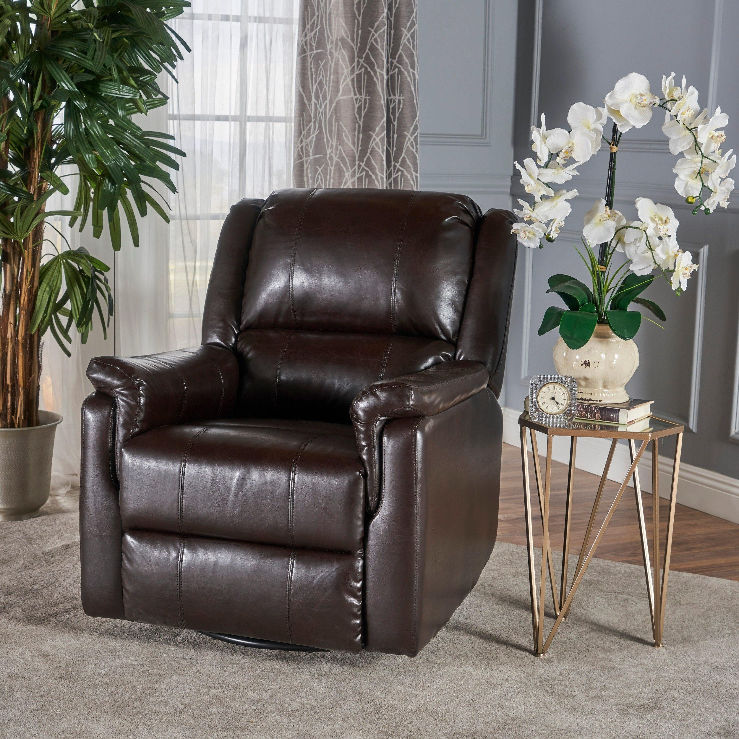 Shop Jennette Faux Leather Swivel Gliding Reclinerchristopher With Franco Iii Fabric Swivel Rocker Recliners (View 9 of 20)