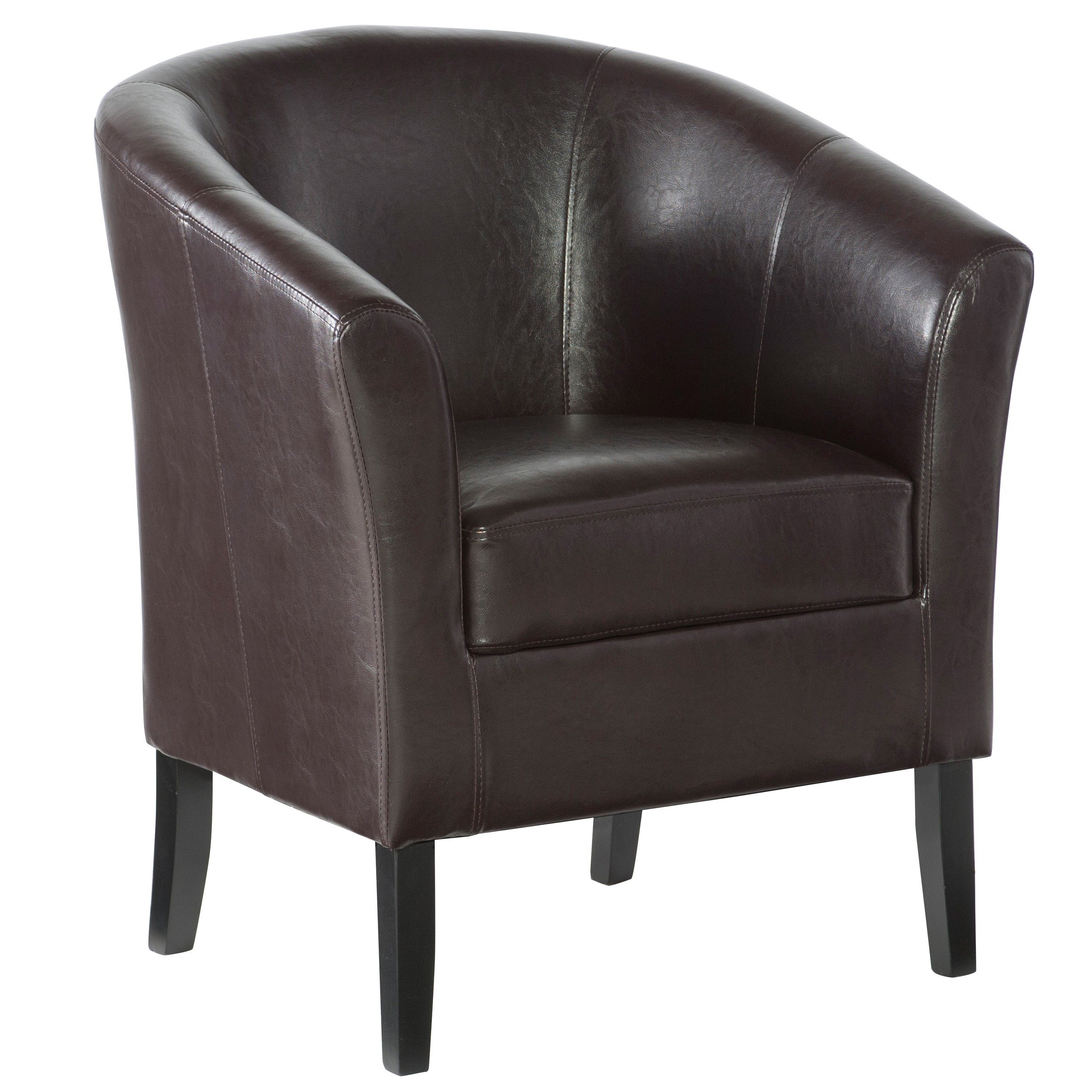 Shop Linon Andrew Barrel Club Chair Coffee Brown Upholstery – Free Throughout Andrew Leather Sofa Chairs (Image 20 of 20)
