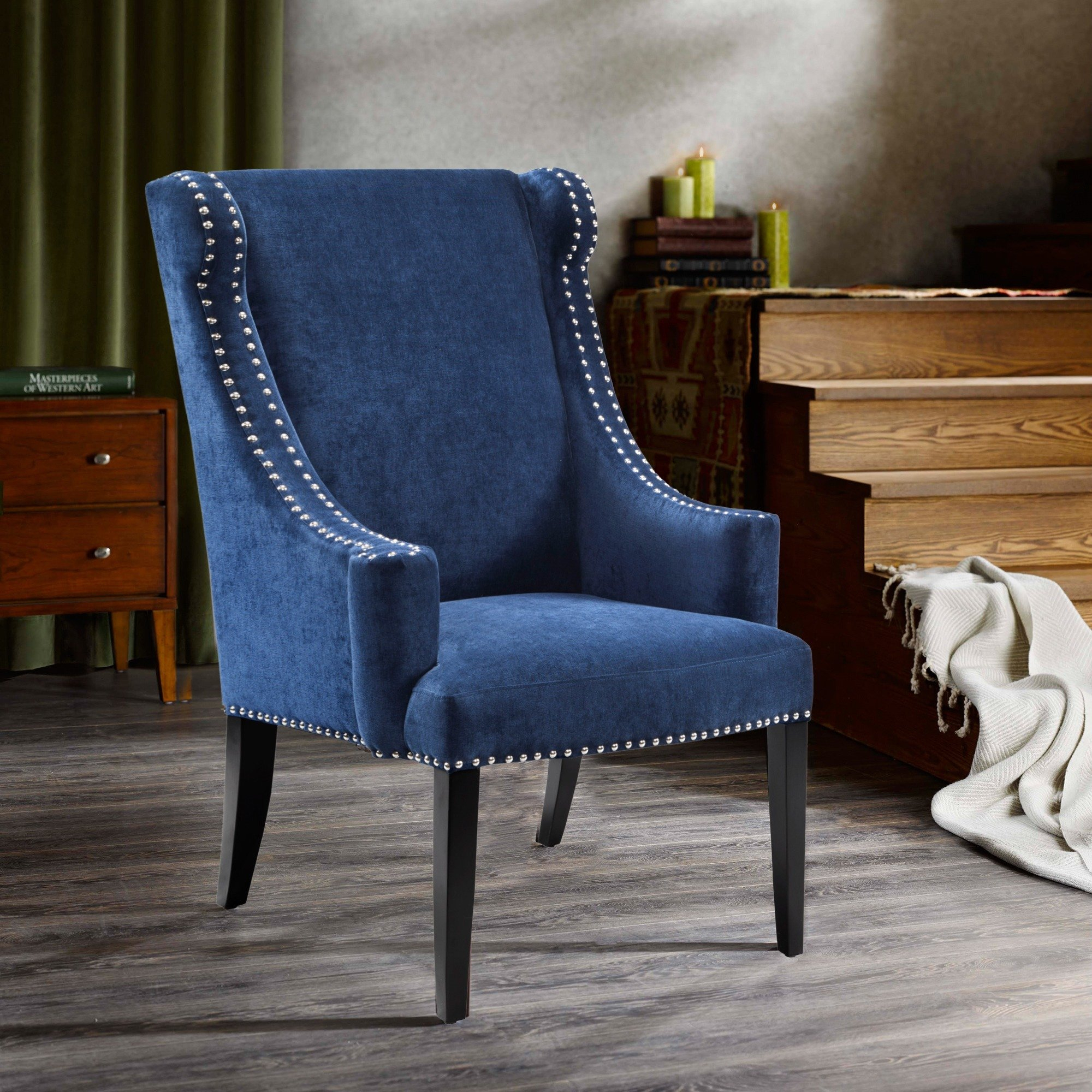 Shop Madison Park Lucy Blue High Back Wing Chair – Free Shipping For Lucy Grey Sofa Chairs (Image 16 of 20)