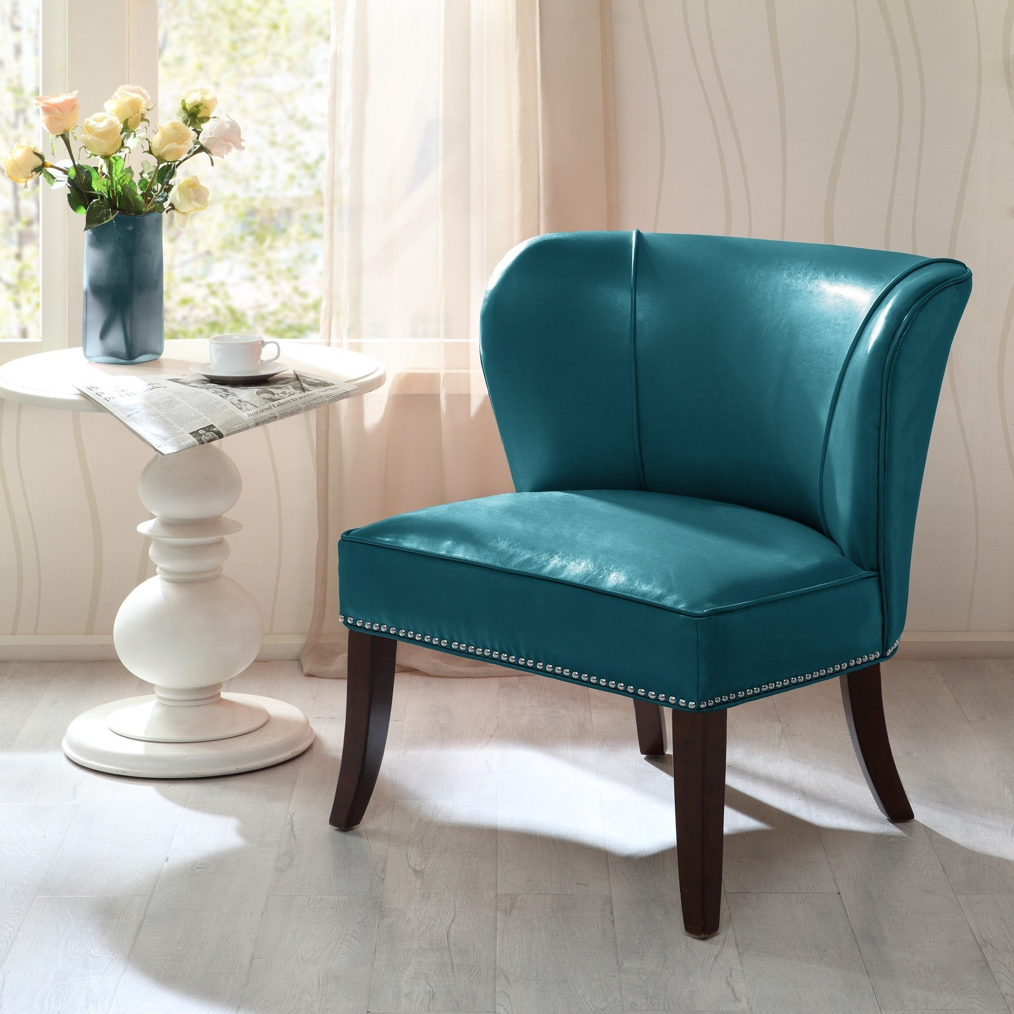 Shop Madison Park Sheldon Blue Concave Back Armless Chair – Free Regarding Sheldon Oversized Sofa Chairs (Photo 8 of 20)