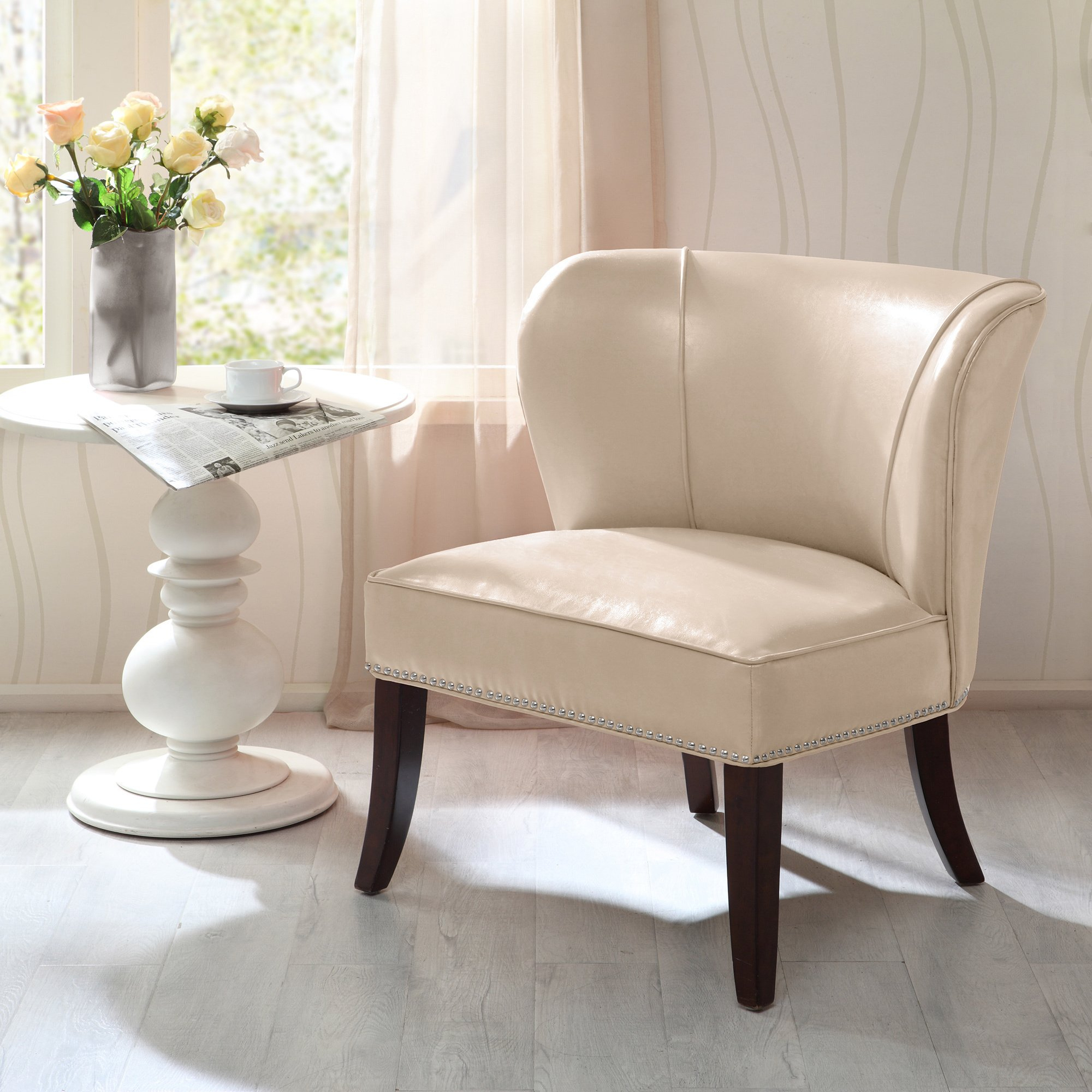 Shop Madison Park Sheldon Concave Back Armless Chair–Ivory – Free For Sheldon Oversized Sofa Chairs (Image 14 of 20)