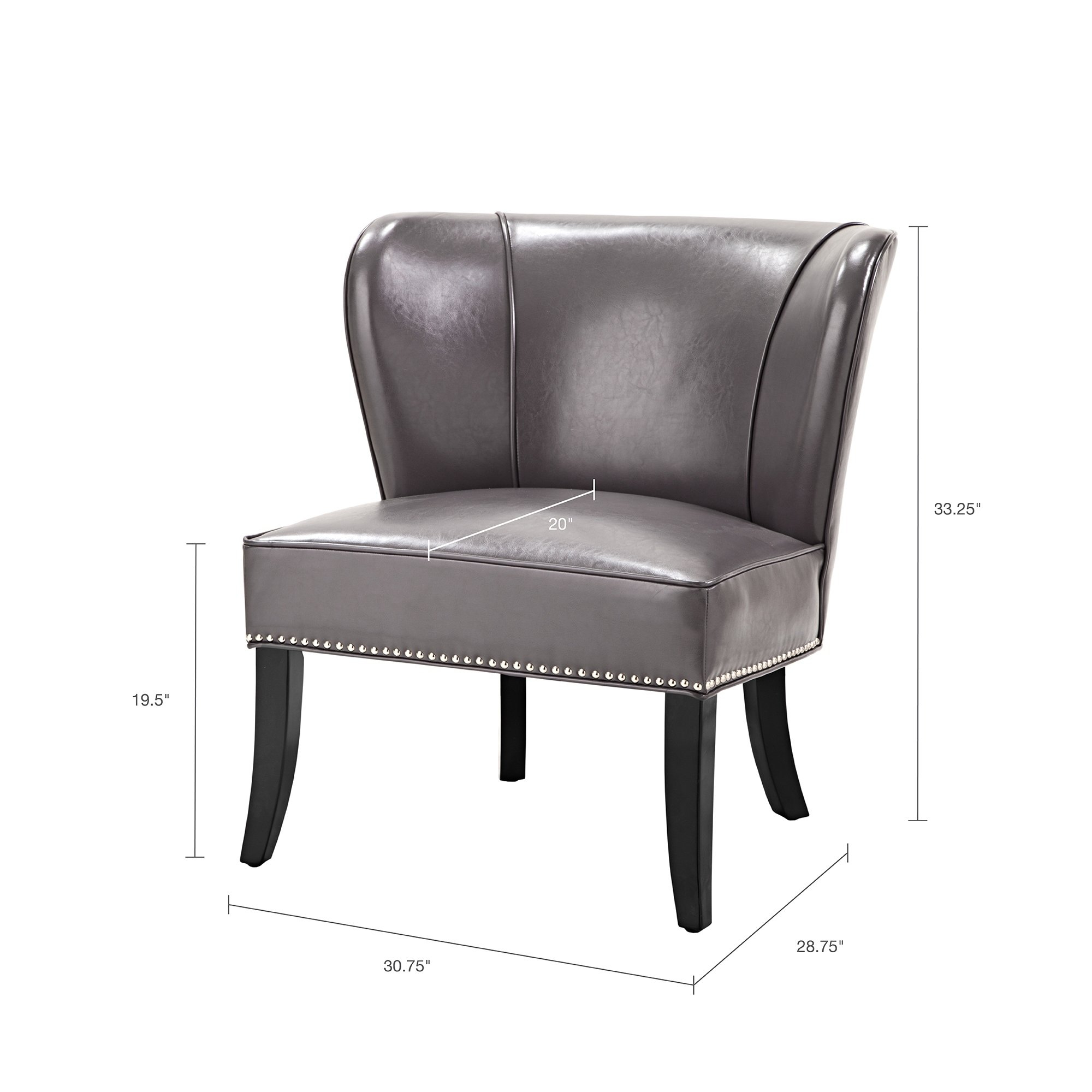 Shop Madison Park Sheldon Concave Back Armless Grey Accent Chair In Sheldon Oversized Sofa Chairs (Image 16 of 20)