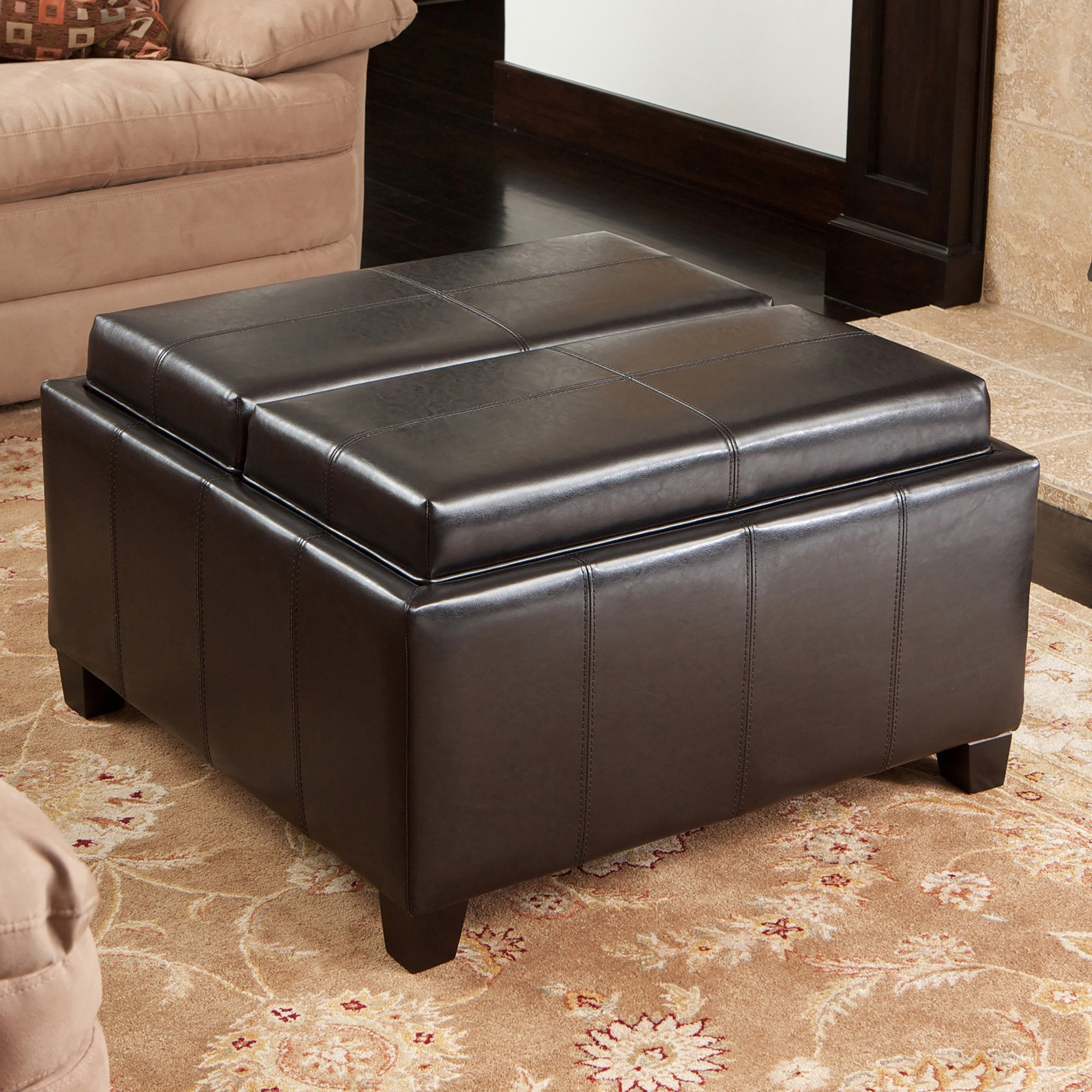 Shop Mansfield Bonded Leather Espresso Tray Top Storage Ottoman Regarding Mansfield Cocoa Leather Sofa Chairs (Image 19 of 20)