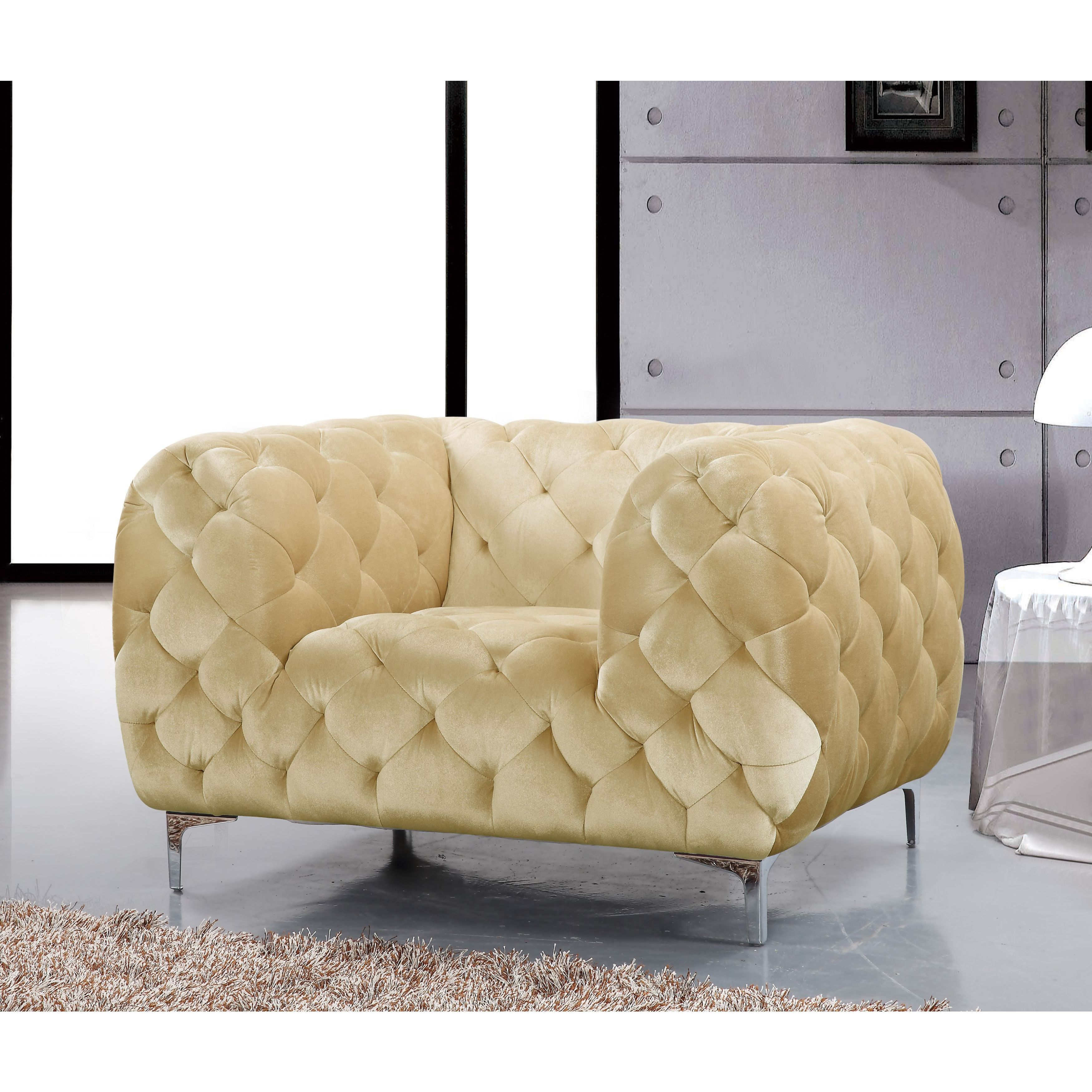 Shop Meridian Mercer Beige Velvet Tufted Chair – Free Shipping Today Regarding Mercer Foam Swivel Chairs (View 17 of 20)