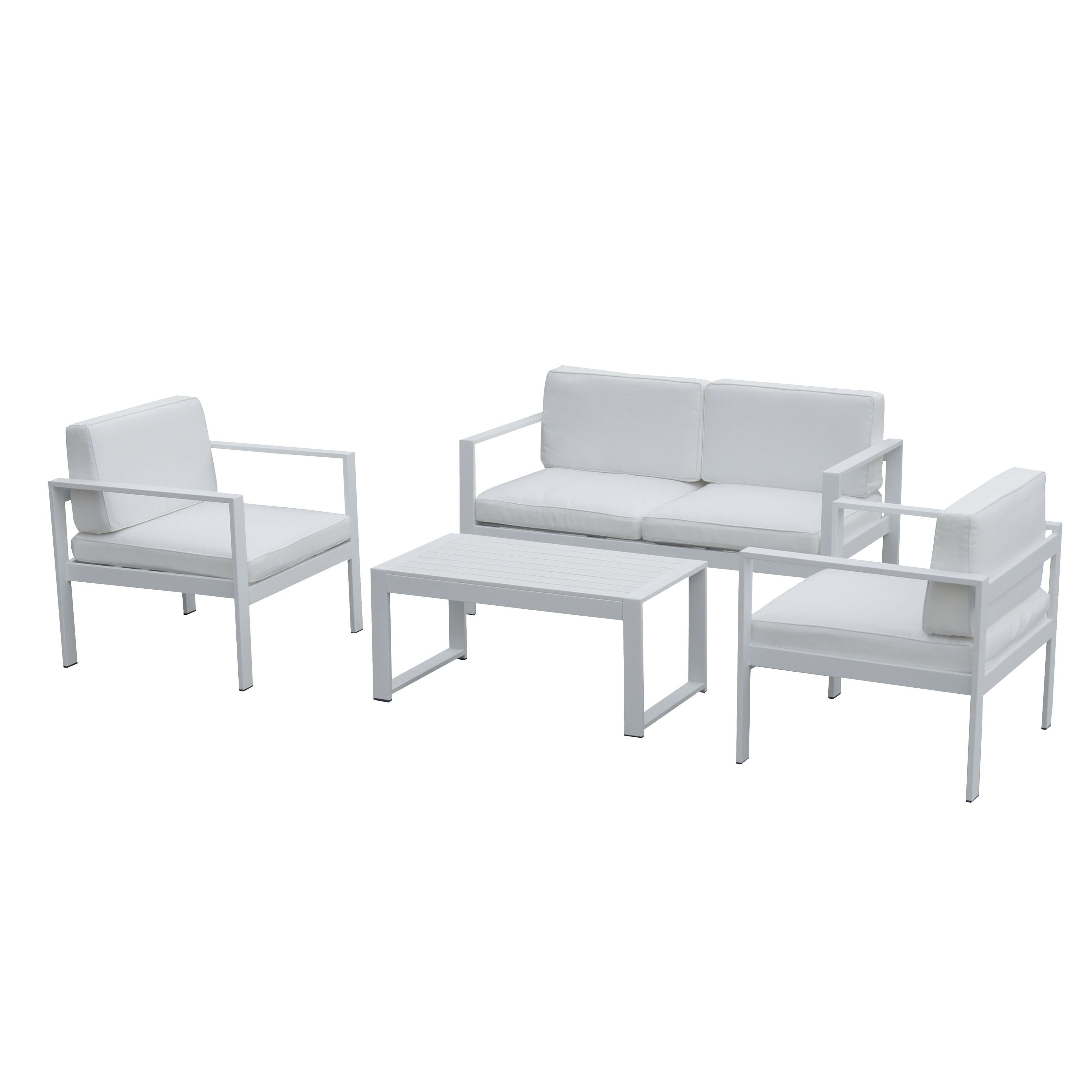 Shop Pangea Home Karen Fabric/ Aluminum 4 Piece Sofa Set – Free With Regard To Karen Sofa Chairs (Image 19 of 20)