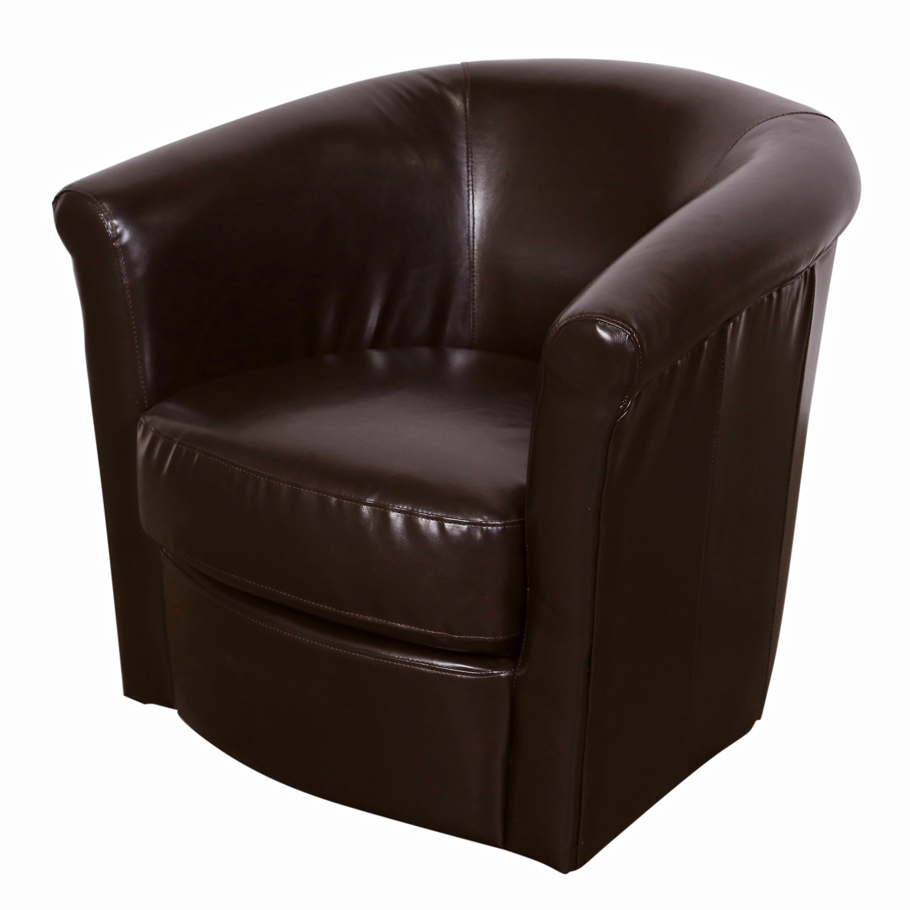Shop Porter Marvel Espresso Brown Swivel Barrel Accent Chair – Free Intended For Espresso Leather Swivel Chairs (Image 19 of 20)