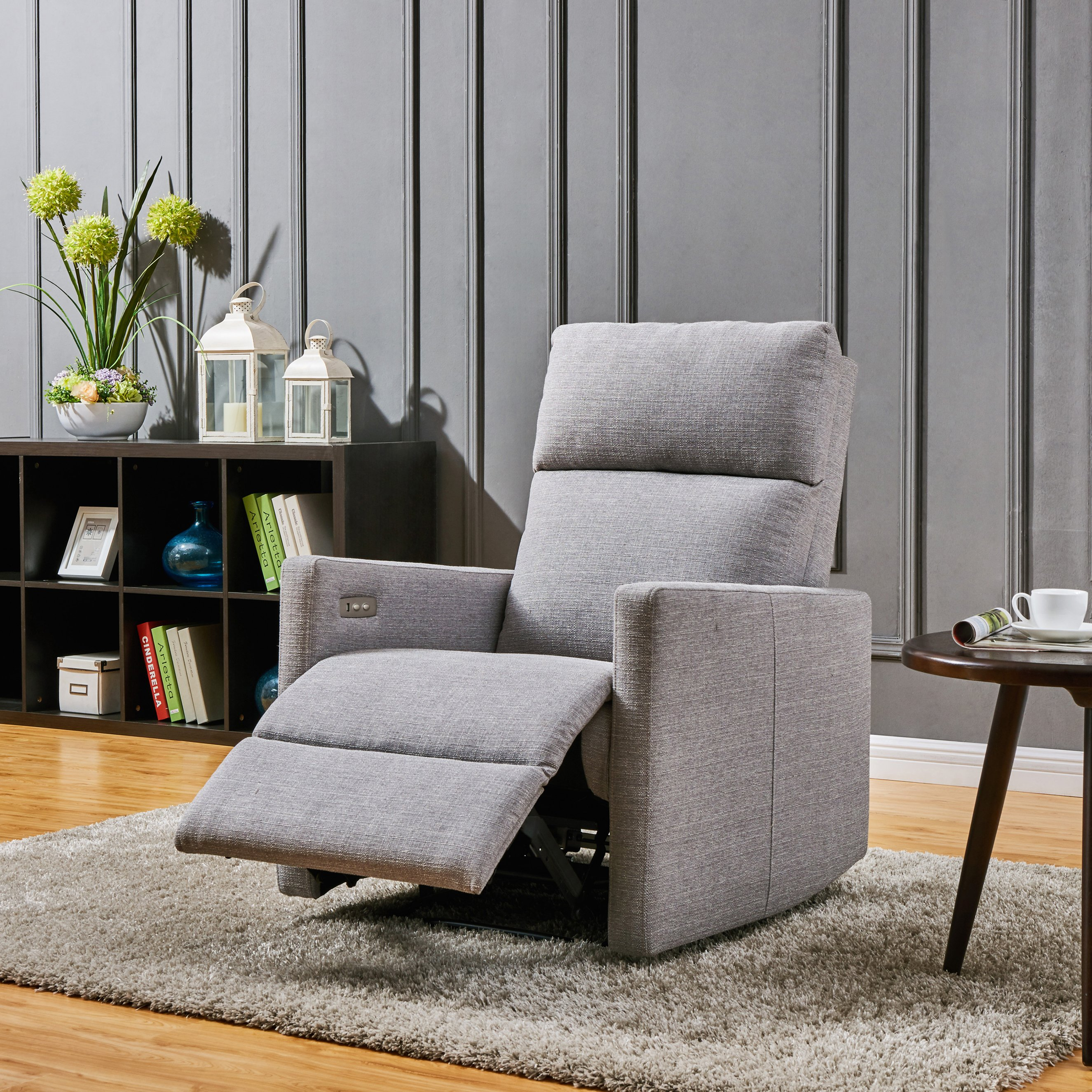 Shop Prolounger Grey Power Wall Hugger Recliner Chair With Usb Port Regarding Harbor Grey Swivel Accent Chairs (Image 17 of 20)