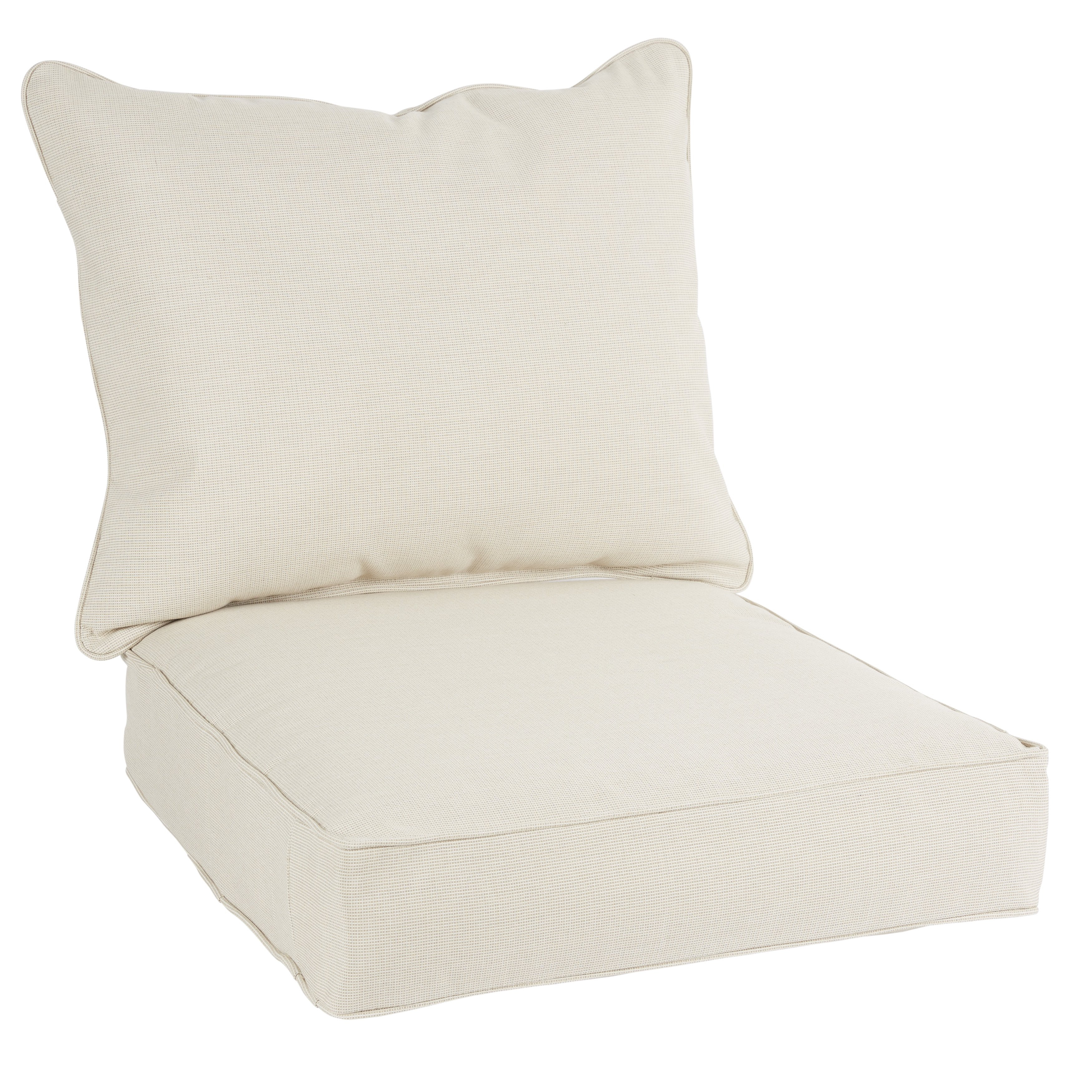 Shop Quinn Sunbrella Volt Sand Indoor/ Outdoor Chair Corded Cushion Intended For Quinn Teak Sofa Chairs (Photo 17 of 20)