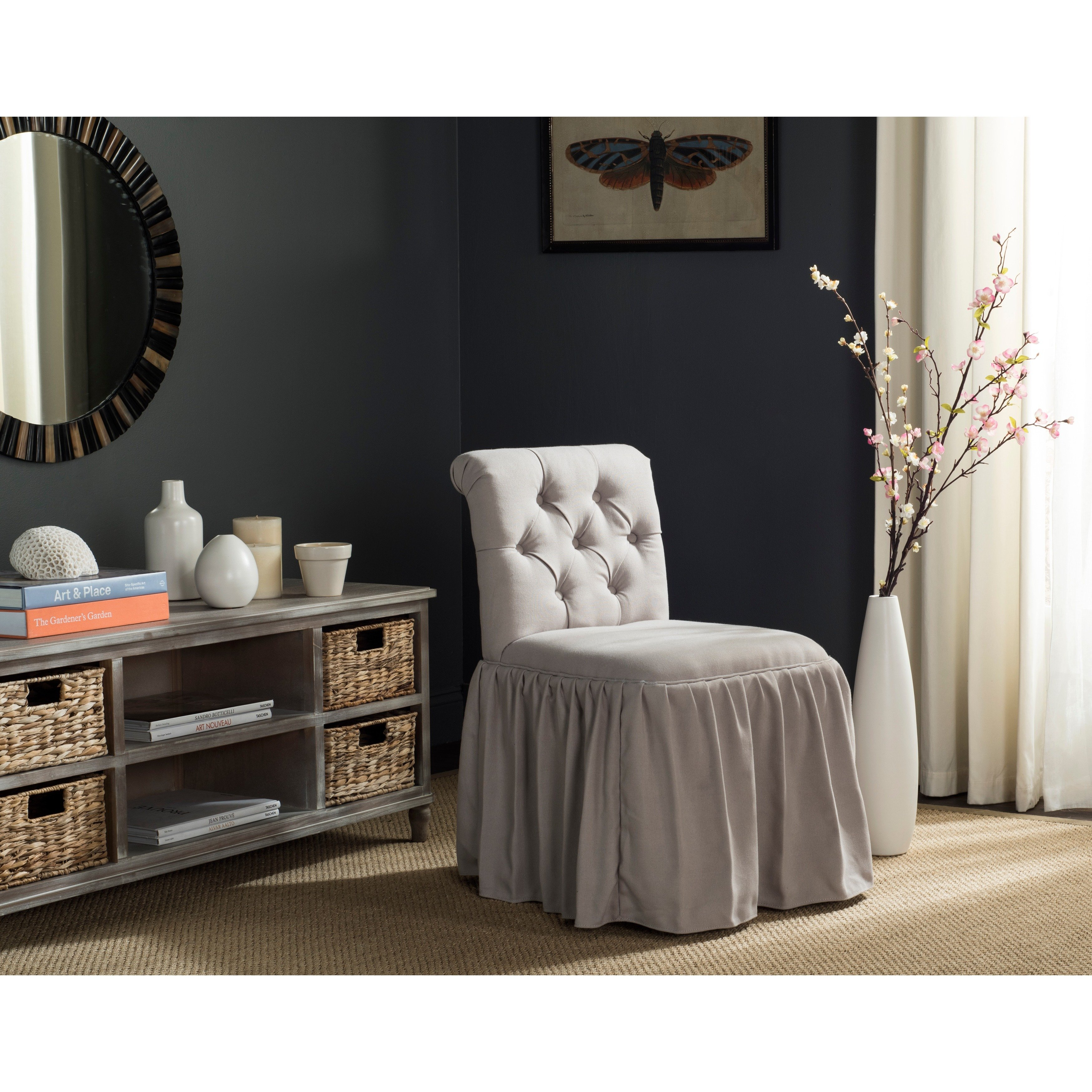 Shop Safavieh Allie Taupe Linen Vanity Chair – Free Shipping Today Throughout Allie Dark Grey Sofa Chairs (Image 18 of 20)