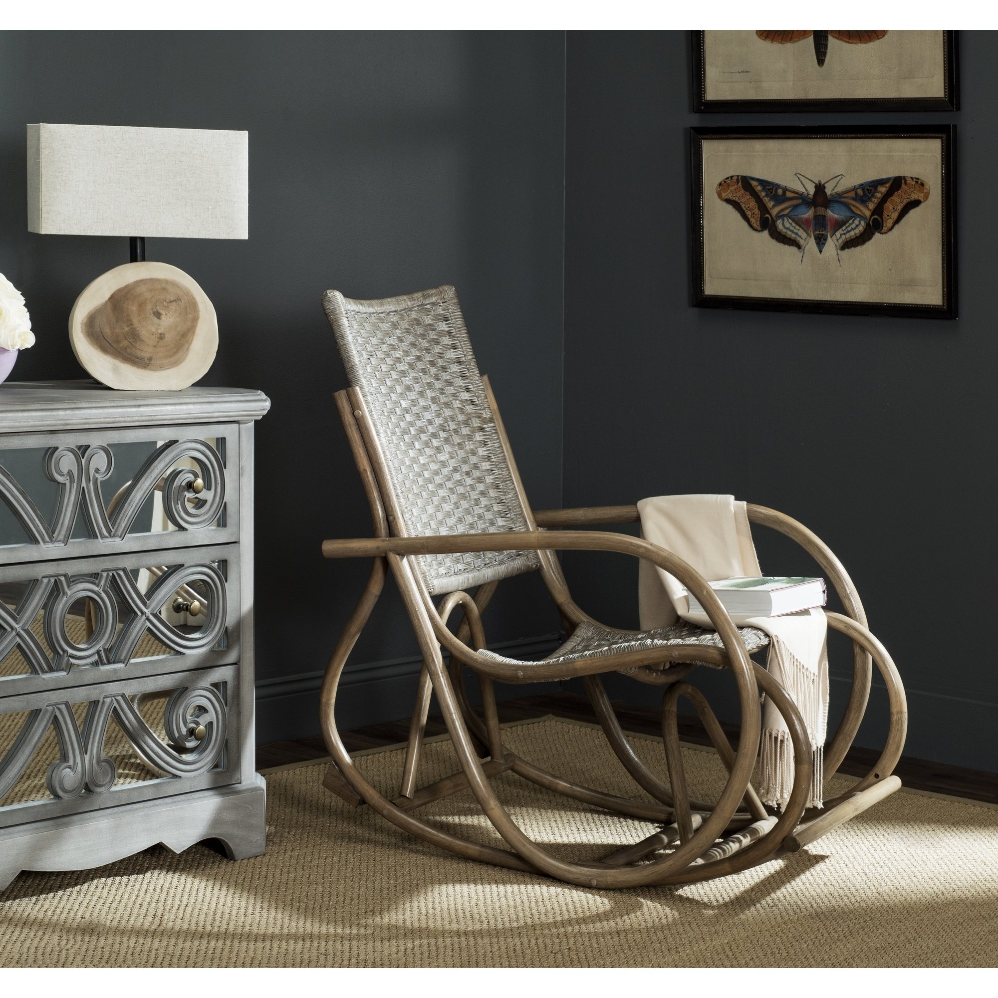 Shop Safavieh Bali Antique Grey Rocking Chair – Free Shipping Today With Regard To Katrina Blue Swivel Glider Chairs (Image 18 of 20)