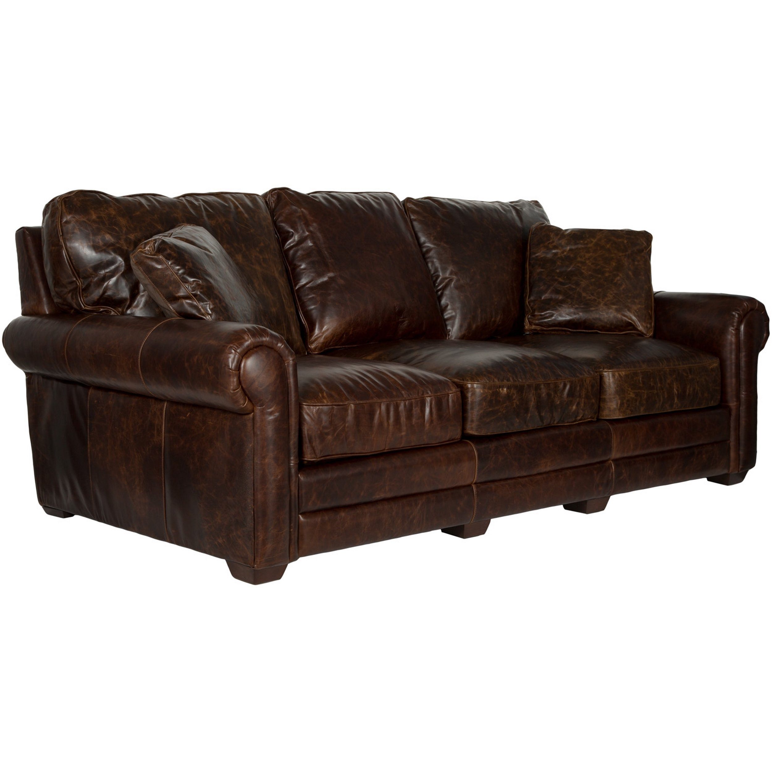Shop Safavieh Couture High Line Collection Walter Cocoa Leather Sofa Pertaining To Walter Leather Sofa Chairs (Image 9 of 20)