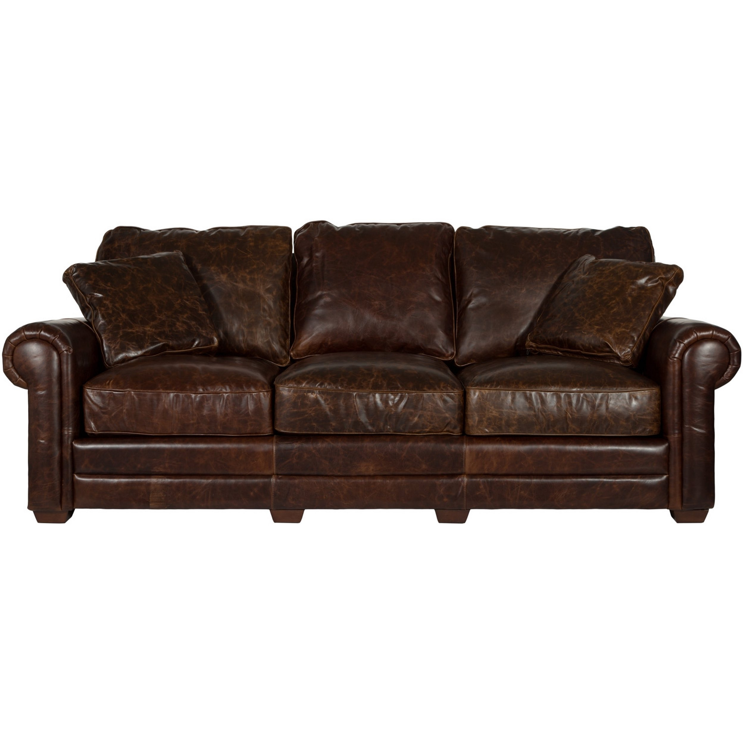 Shop Safavieh Couture High Line Collection Walter Cocoa Leather Sofa Throughout Walter Leather Sofa Chairs (Image 10 of 20)