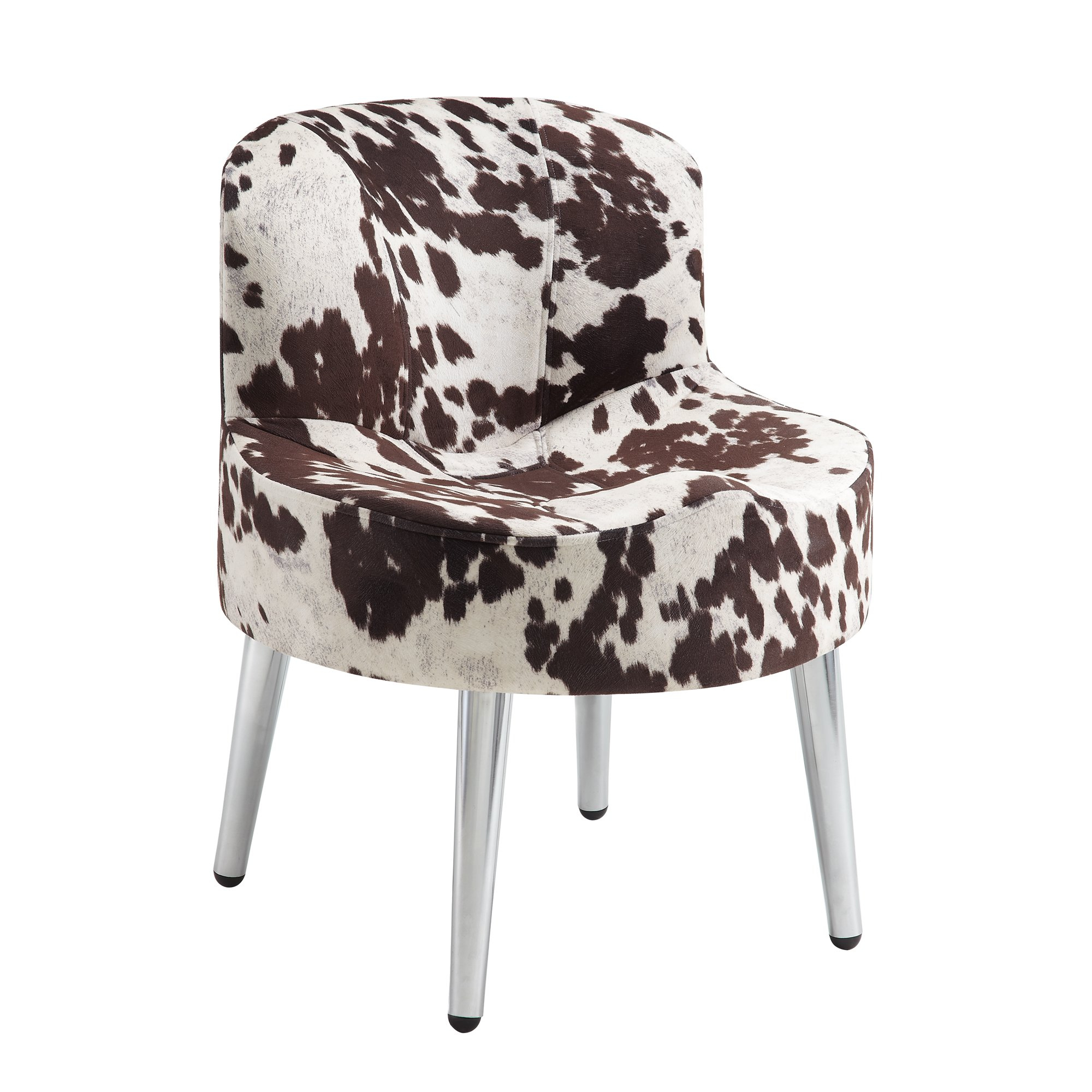 Shop Tribecca Home Bridgeport Ergonomic Contour Cowhide Fabric In Circuit Swivel Accent Chairs (Image 15 of 20)