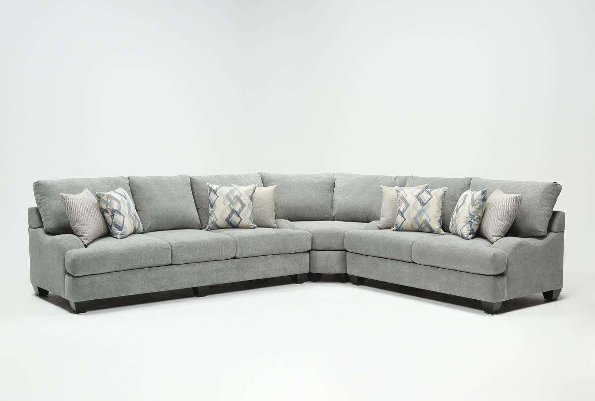 Sierra Foam Ii 3 Piece Sectional | Living Spaces In Mesa Foam Oversized Sofa Chairs (Image 20 of 20)