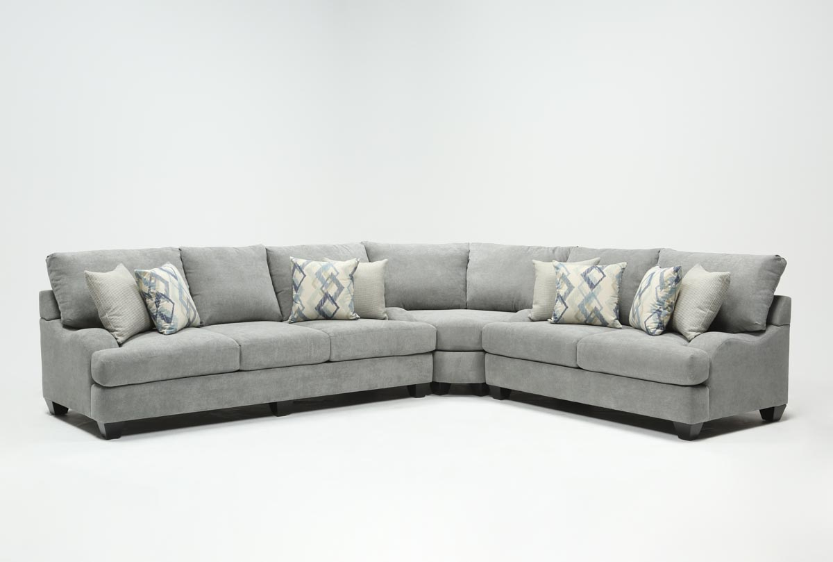 Sierra Foam Ii 3 Piece Sectional | Living Spaces In Sierra Foam Ii Oversized Sofa Chairs (Image 16 of 20)