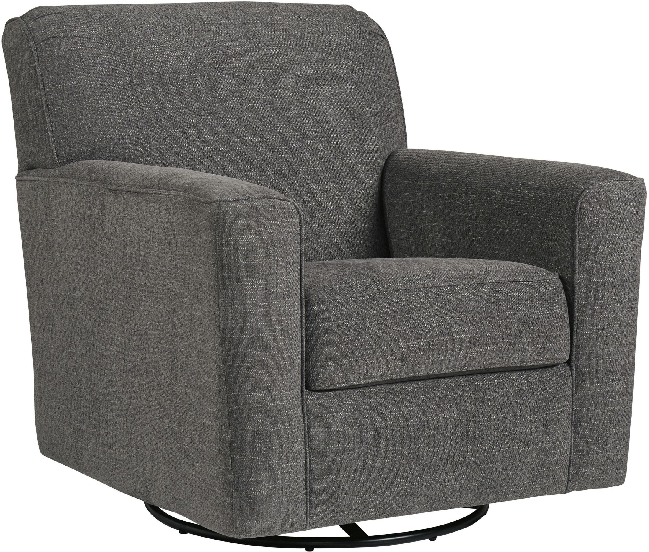 Signature Designashley Alcona Charcoal Swivel Glider Accent With Charcoal Swivel Chairs (Image 19 of 20)