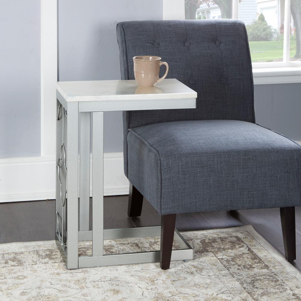 Silverwood Quinn Silver Double Square Quatrefoil C Table Cpft1322B Regarding Quinn Teak Sofa Chairs (Photo 9 of 20)