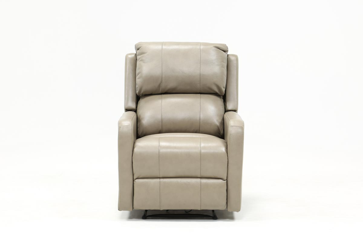 Stanford Leather Mushroom Power Wallaway Recliner | Living Spaces Within Chadwick Gunmetal Swivel Chairs (Image 20 of 20)