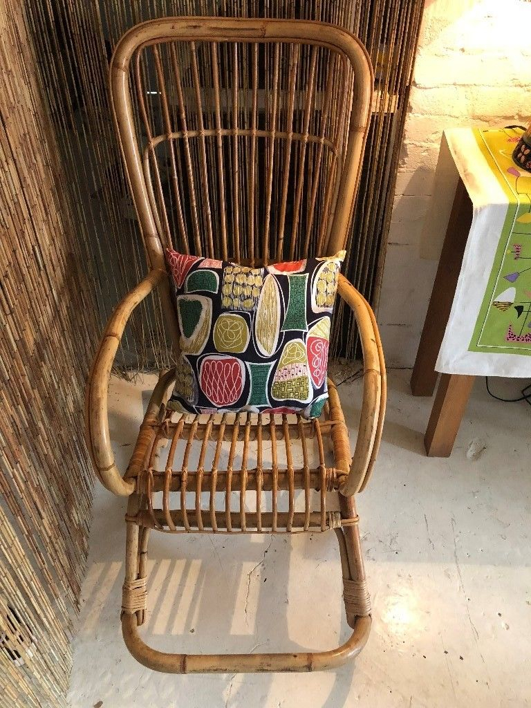 Stunning Vintage Franco Albini Style Cane/ Wicker Rocking Chair, Mcm Within Franco Iii Fabric Swivel Rocker Recliners (View 13 of 20)
