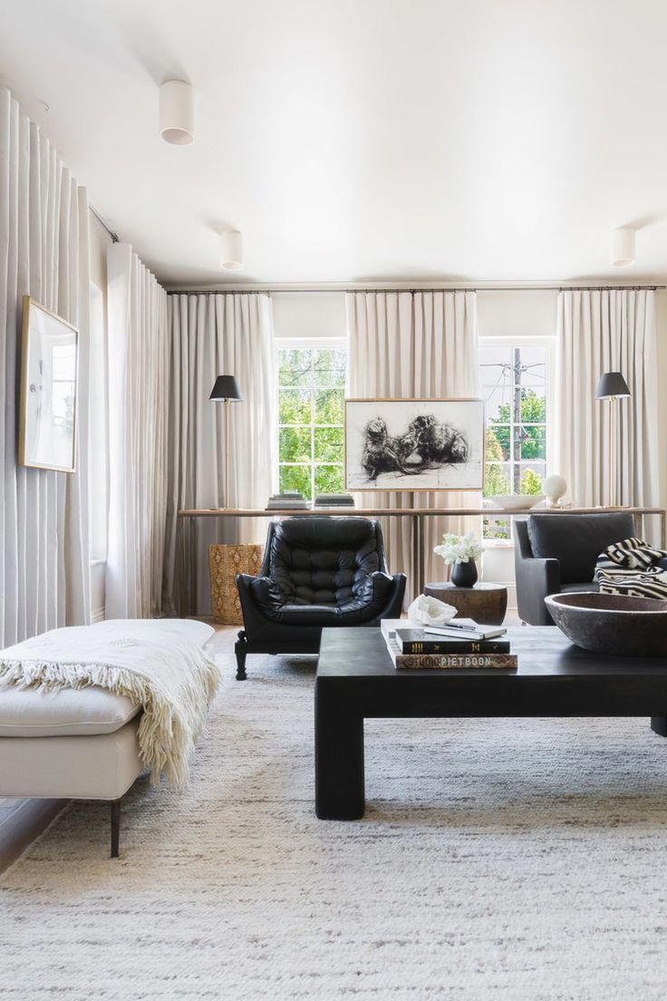 Such A Stunning Shot Of This Living Room! Black Tufted Leather Within Gwen Sofa Chairs By Nate Berkus And Jeremiah Brent (Photo 20 of 20)