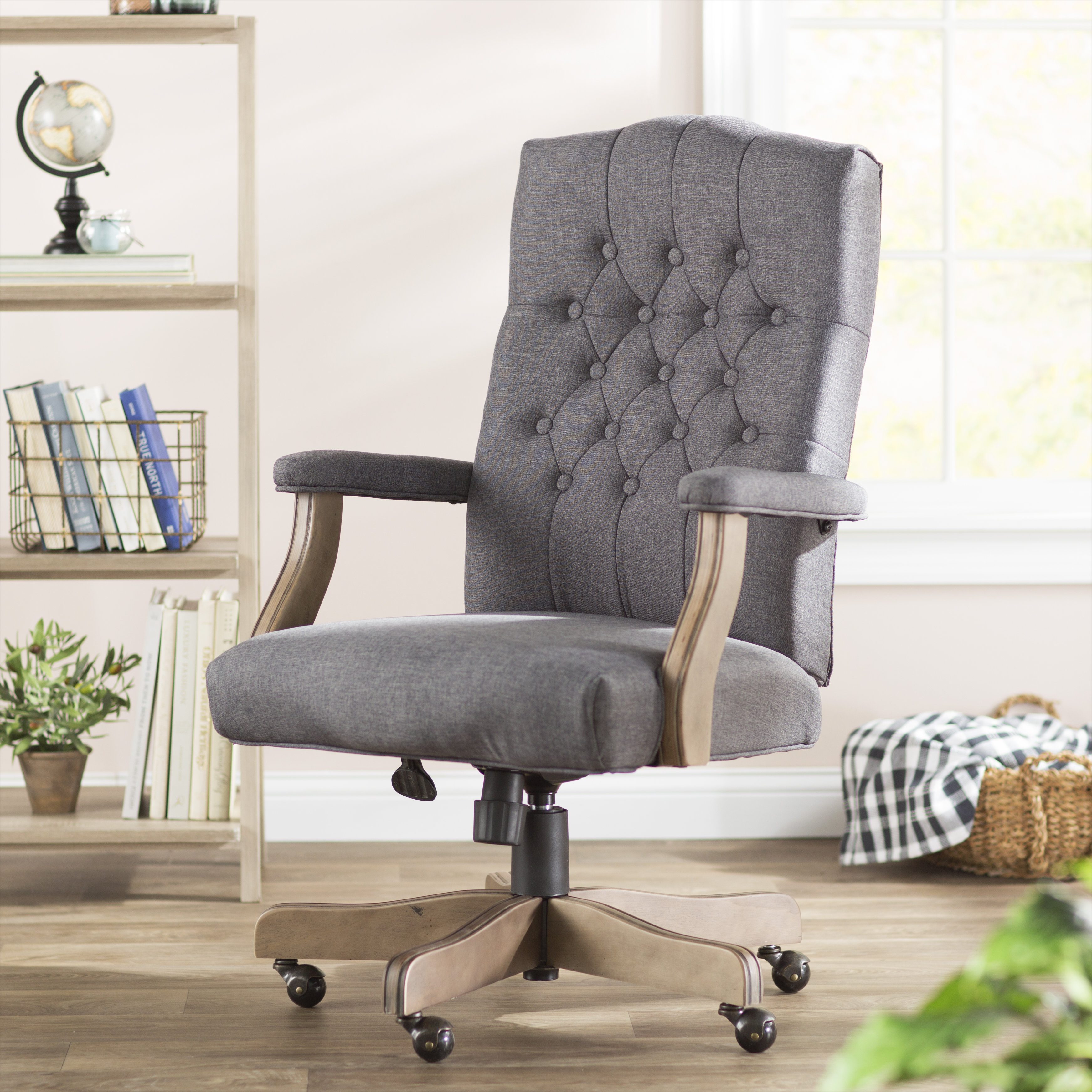 Three Posts Wurthing High Back Executive Chair & Reviews | Wayfair With Regard To Katrina Grey Swivel Glider Chairs (Image 15 of 20)