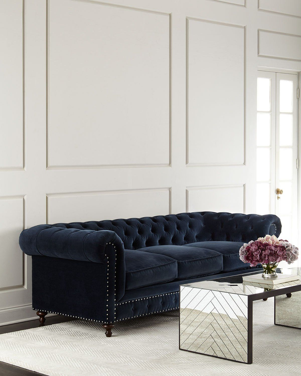 Tia 3 Cushion Chesterfield Sofa | Chairs Fabulous | Pinterest Throughout Mansfield Graphite Velvet Sofa Chairs (Photo 16 of 20)
