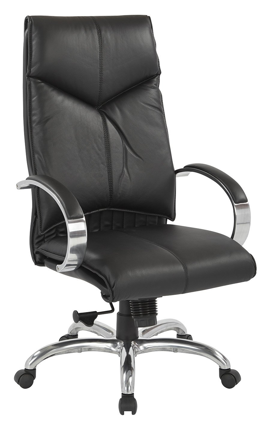 Top Grain Black Leather High Back Swivel Chair With Chrome Base Regarding Leather Black Swivel Chairs (Image 17 of 20)