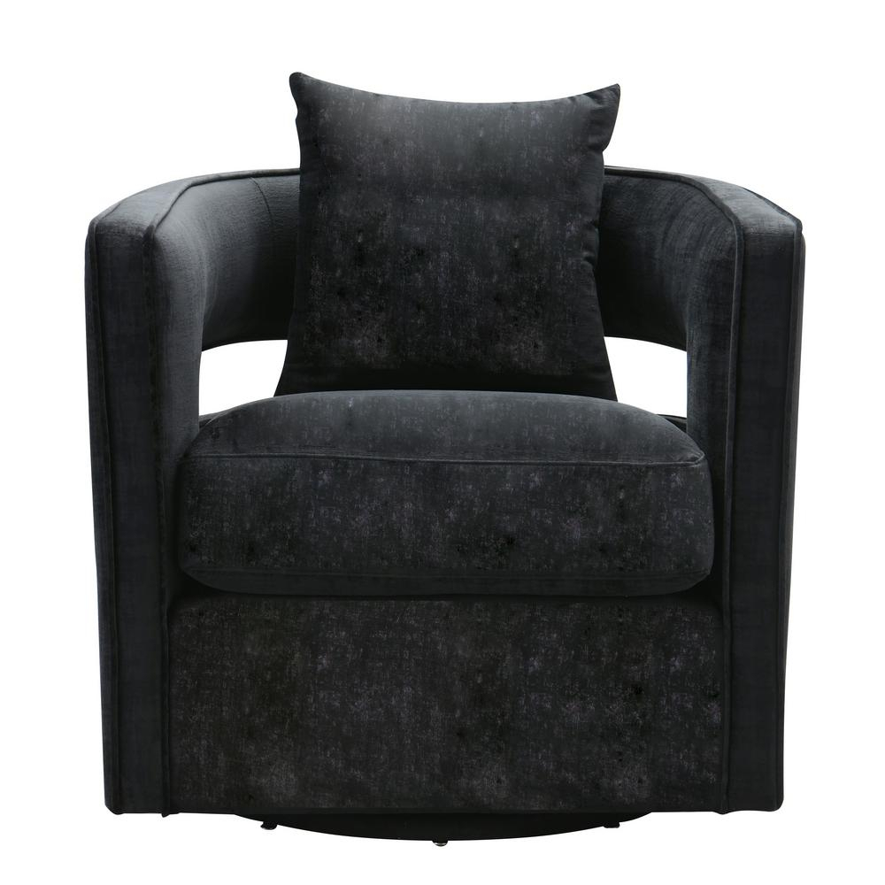 Tov Furniture Kennedy Black Swivel Chair Tov L6145 – The Home Depot For Leather Black Swivel Chairs (Image 18 of 20)