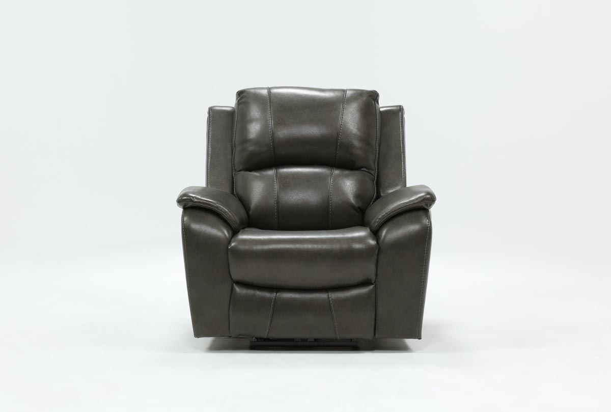 Travis Dark Grey Leather Power Recliner W/power Headrest And Usb Intended For Amala Bone Leather Reclining Swivel Chairs (View 9 of 20)