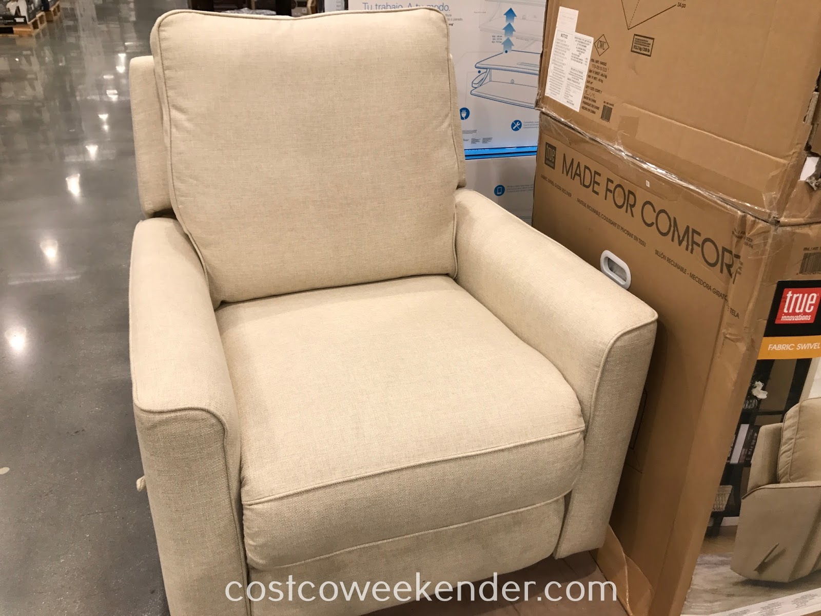 True Innovations Fabric Swivel Glider Recliner Chair | Costco Weekender In Decker Ii Fabric Swivel Rocker Recliners (Image 19 of 20)