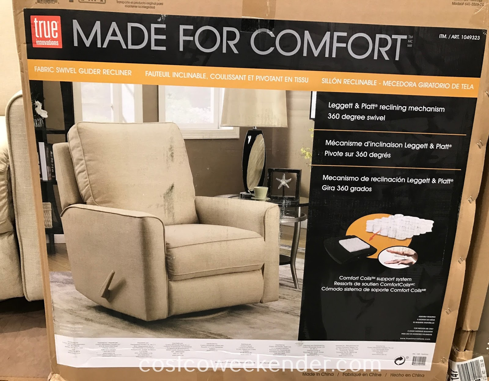 True Innovations Fabric Swivel Glider Recliner Chair | Costco Weekender Intended For Decker Ii Fabric Swivel Rocker Recliners (Image 20 of 20)