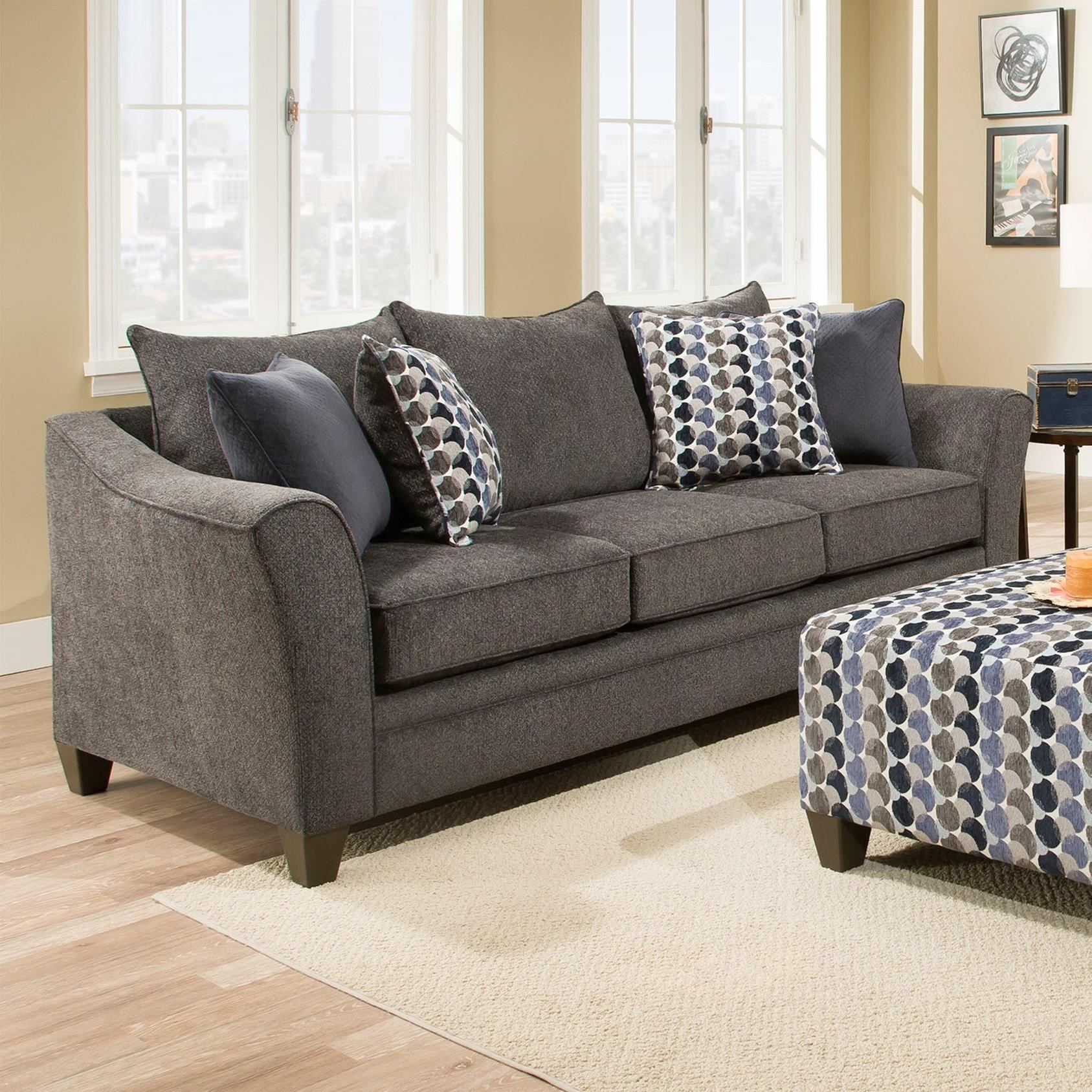 Umber Kiara 6485Sofa Transitional Sofa With Flared Arms | Efo Intended For Kiara Sofa Chairs (Photo 7 of 20)