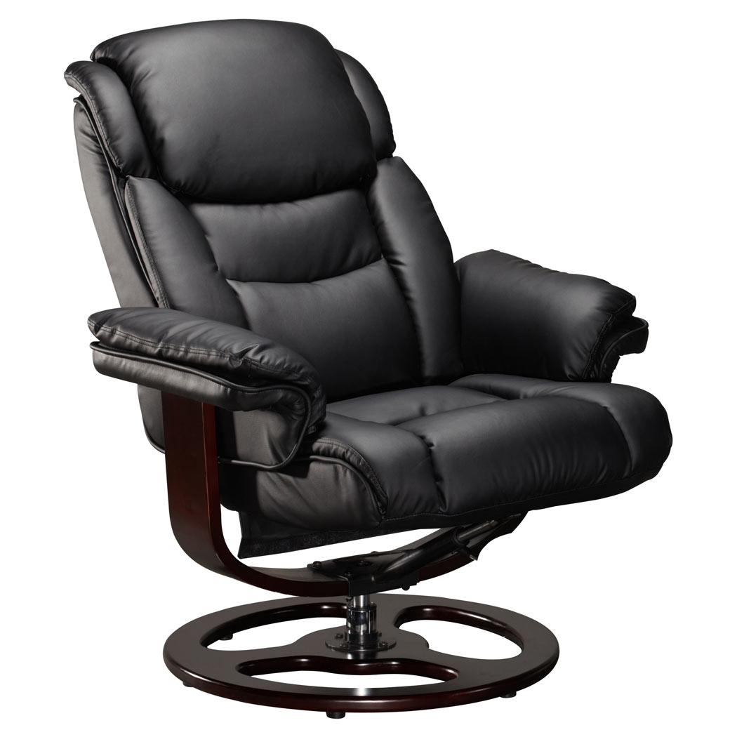 Vienna Real Leather Black Swivel Recliner Chair W Foot Black Spindle With Leather Black Swivel Chairs (Image 19 of 20)