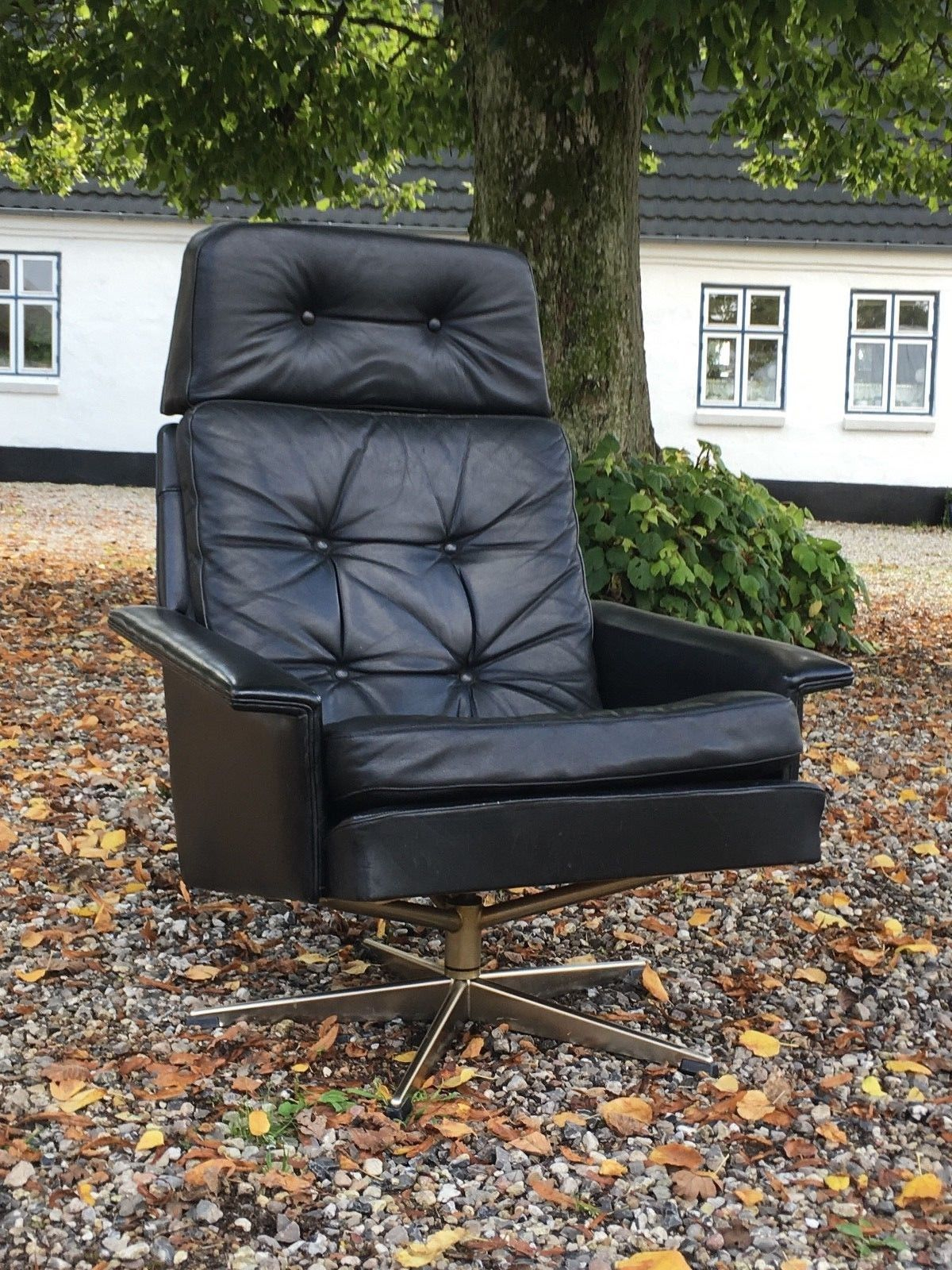 Vintage Mid Century Danish Black Leather Swivel Chair 1960S – Retro For Leather Black Swivel Chairs (Image 20 of 20)