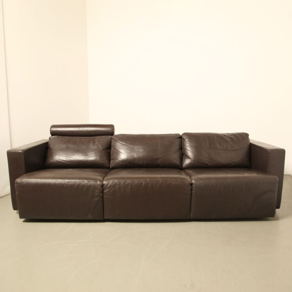Vintage Modular Brown Leather Sofawalter Knoll For Sale At Pamono Within Walter Leather Sofa Chairs (Image 12 of 20)