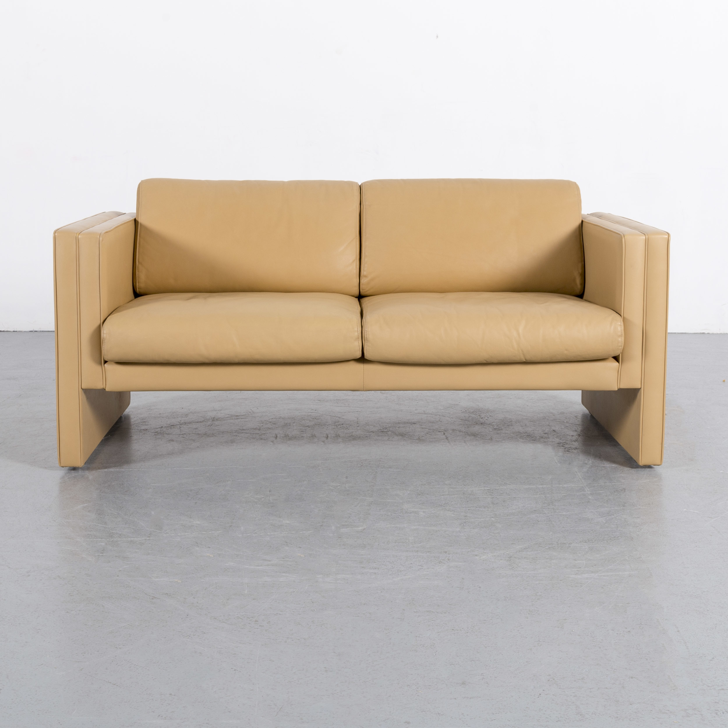 Walter Knoll Leather Sofa Yellow Beige Two Seater Couch Genuine Throughout Walter Leather Sofa Chairs (Image 14 of 20)