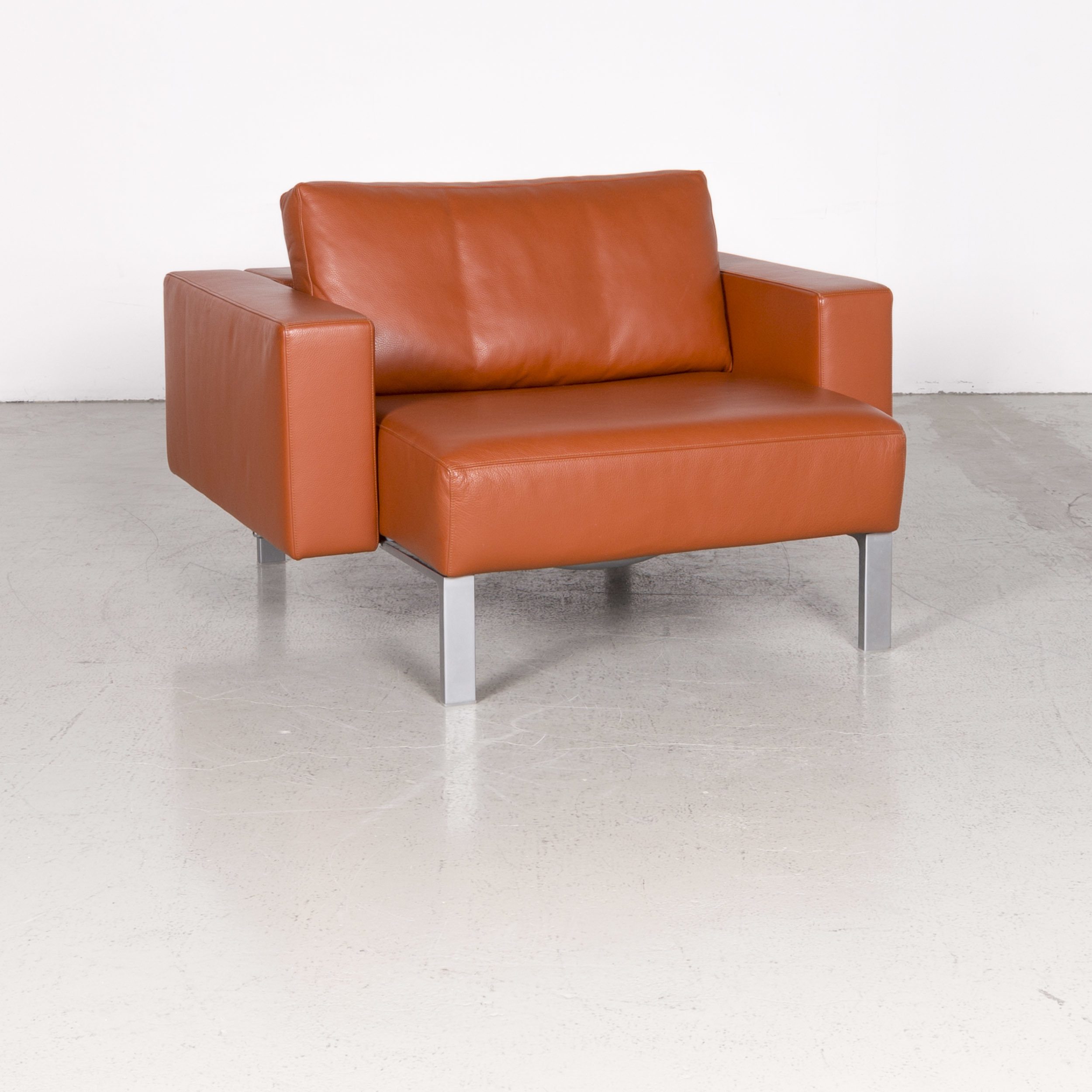 Walter Knoll Nelson Designer Leather Armchair Orange Genuine Leather Intended For Walter Leather Sofa Chairs (Image 15 of 20)